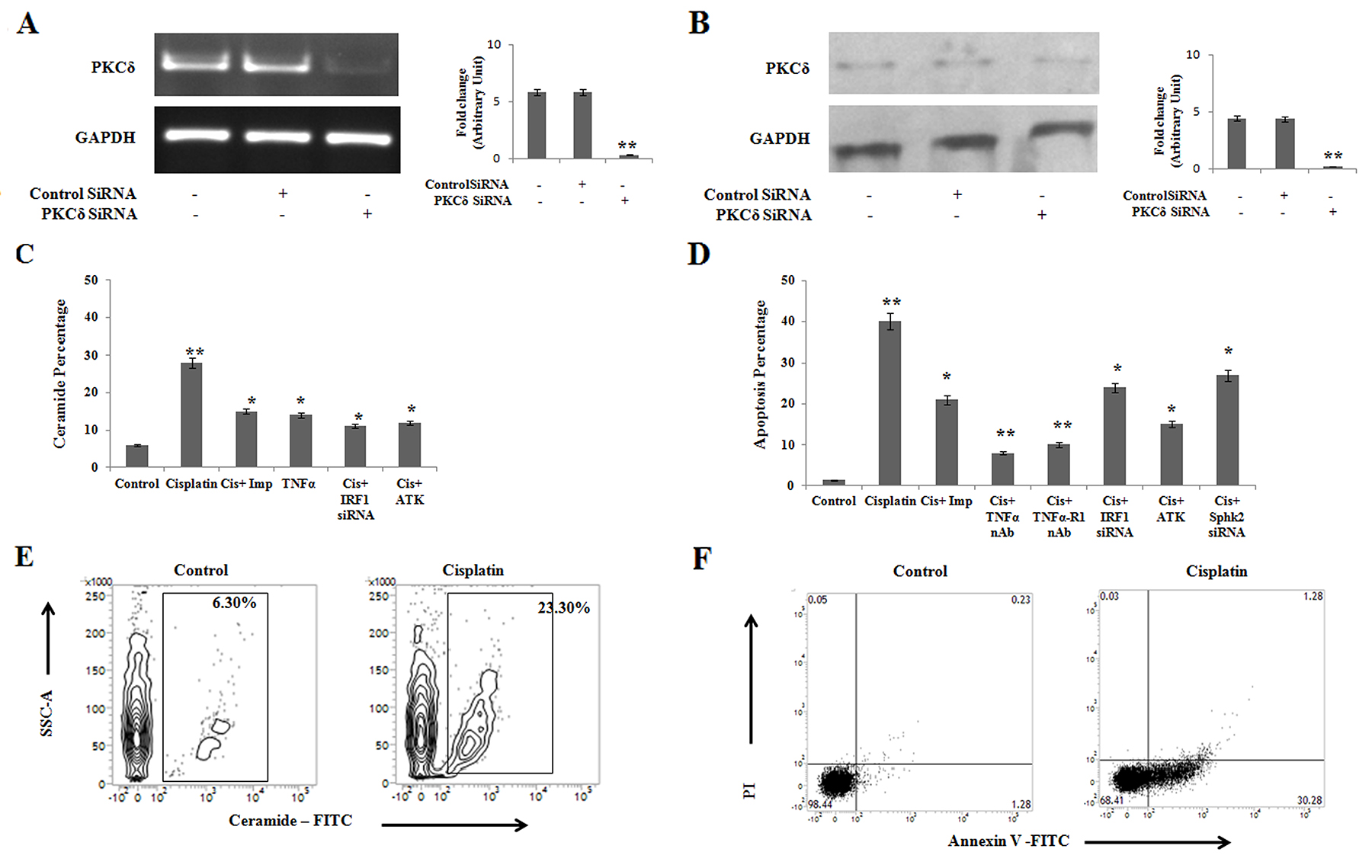 Cisplatin treatment in PKCδ silenced A375 human melanoma cells induces ceramide mediated apoptosis through IRF1-TNFα axis.