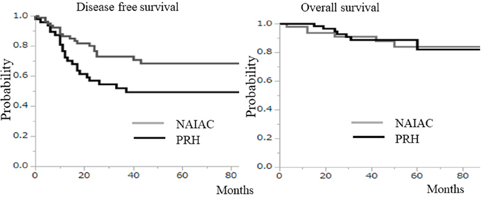 Those patients in the neoadjuvant intraarterial chemotherapy (NAIAC) group had a longer disease free survival rate than those in the primary radical hysterectomy (PRH) group (p=0. 02).