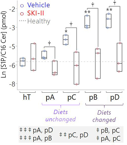 Targeted measurement of S1P/C16 Cer ratio suggests SK1 is a key driver of the conserved S1P:C16 Cer imbalance in pancreatic cancer subcultures, which may be corrected by SKI-II treatment.