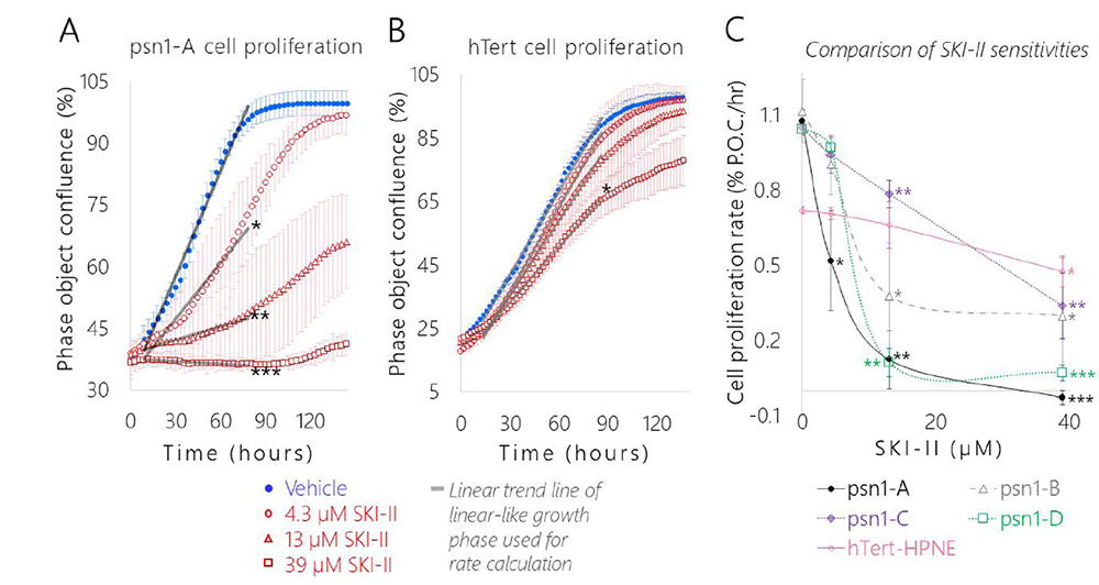 SK1 inhibition significantly slowed pancreatic cancer cell proliferation relative to the healthy control and each cancer subclones displayed a distinct level of dose-dependent SKI-II sensitivity.