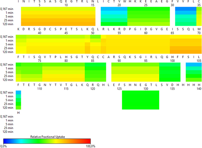 HDX-MS heat map representing the pattern of exchange in CD160 protein.