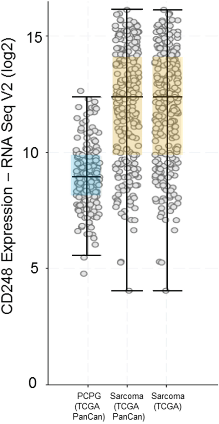 CD248 expression by RNA Seq V2 (log2) from the Cancer Genome Atlas (TCGA) showing expression of CD248 in pheochromocytoma and paraganglioma (PCPG) and Sarcoma.