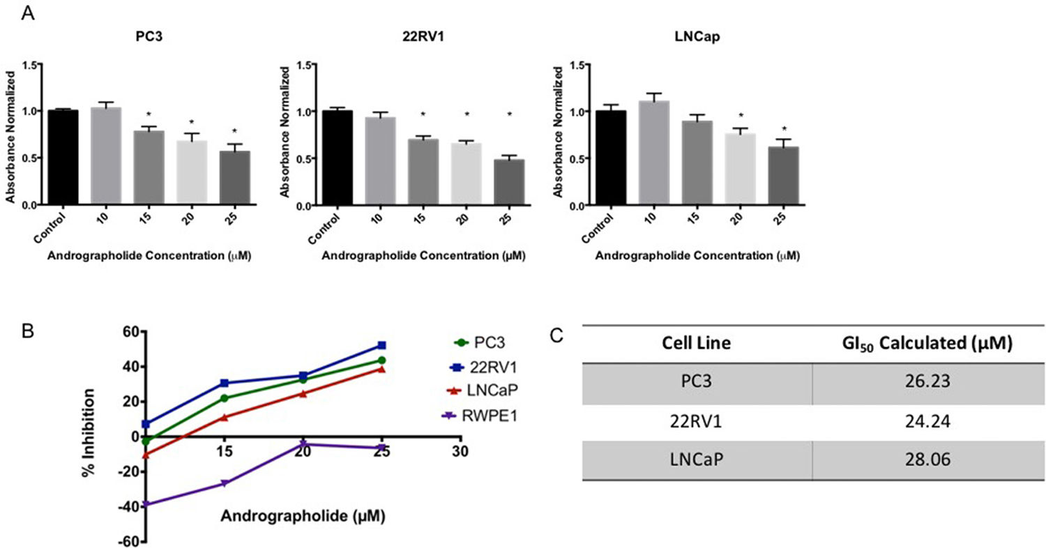 Andrographolide decreased cell viability in prostate cancer cells.
