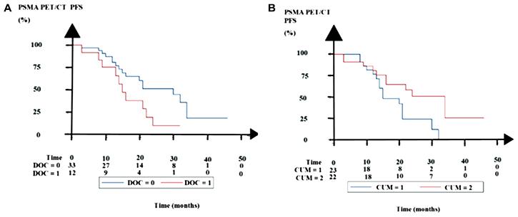 Kaplan–Meier estimates of PSMA PET/CT progression-free survival (PFS).