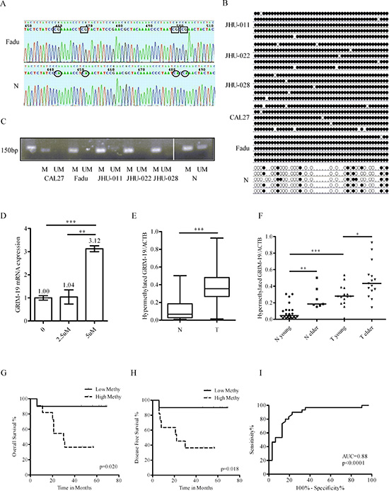 Verification and clinical significance of GRIM-19 hypermethylation.