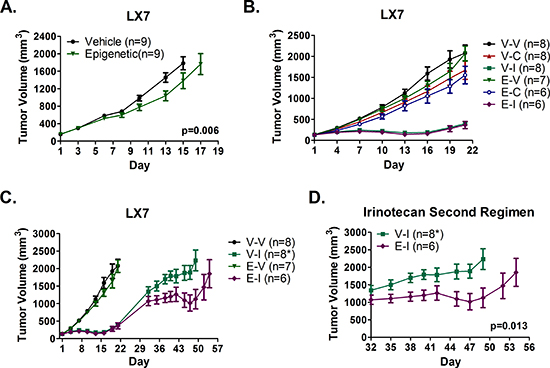 Epigenetic therapy sensitizes a patient derived model of adenocarcinoma to repeat treatment with irinotecan, but does not sensitize to cisplatin.