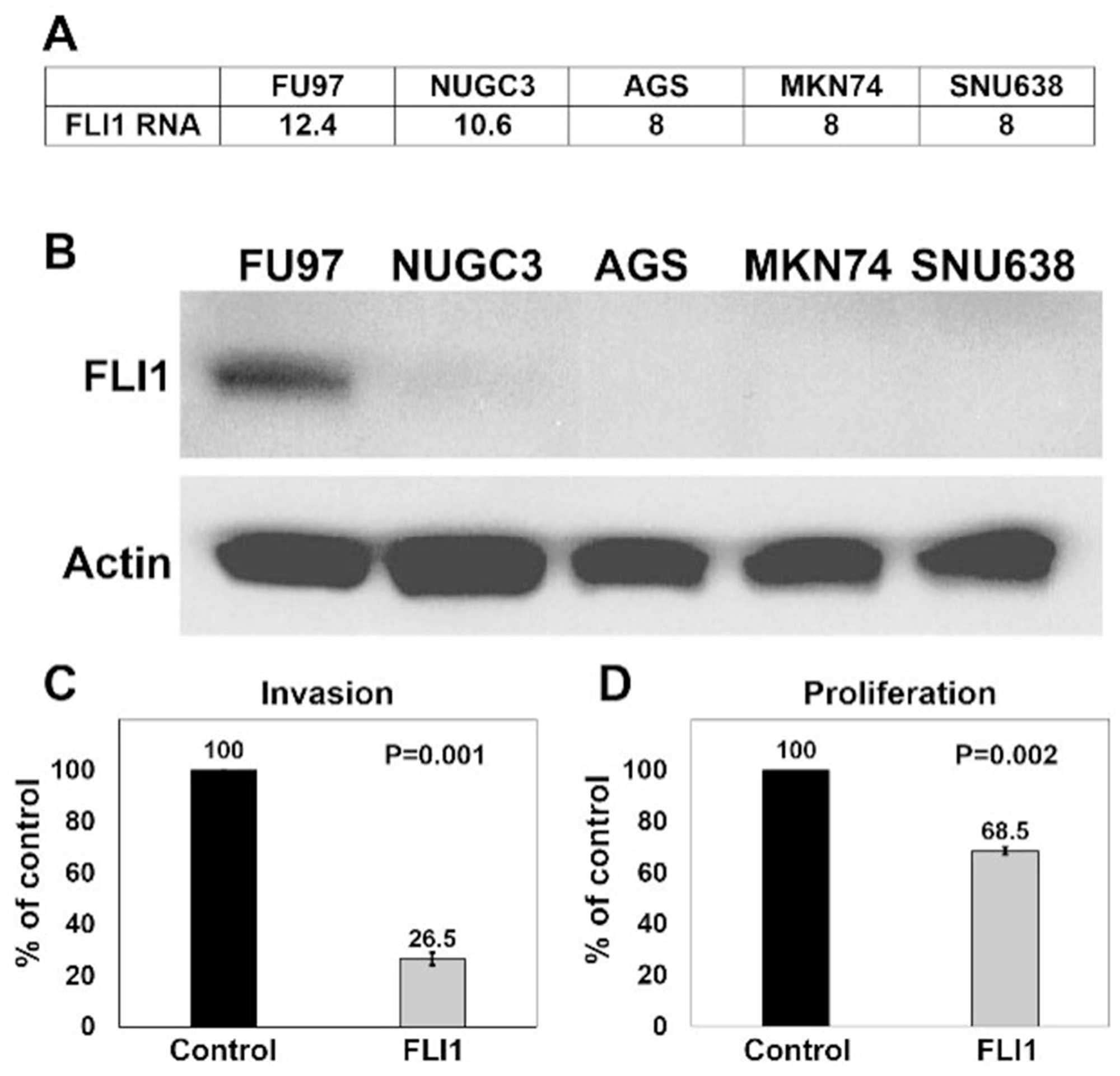 Overexpression of FLI1 in AGS cells inhibits invasion and proliferation