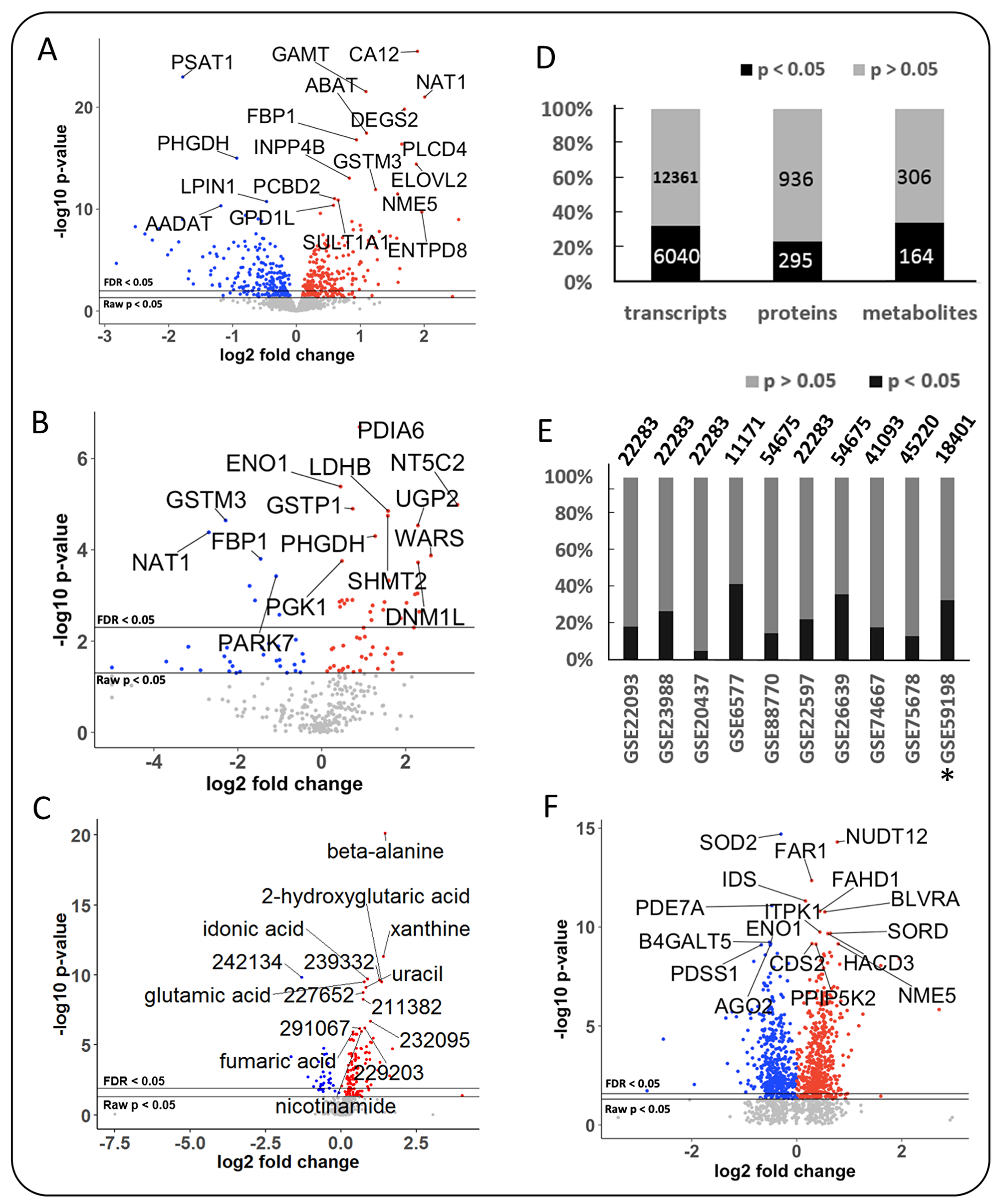 Differential expression of metabolic genes, metabolic enzymes and metabolites in breast cancer, using MetaCancer and GEO studies.
