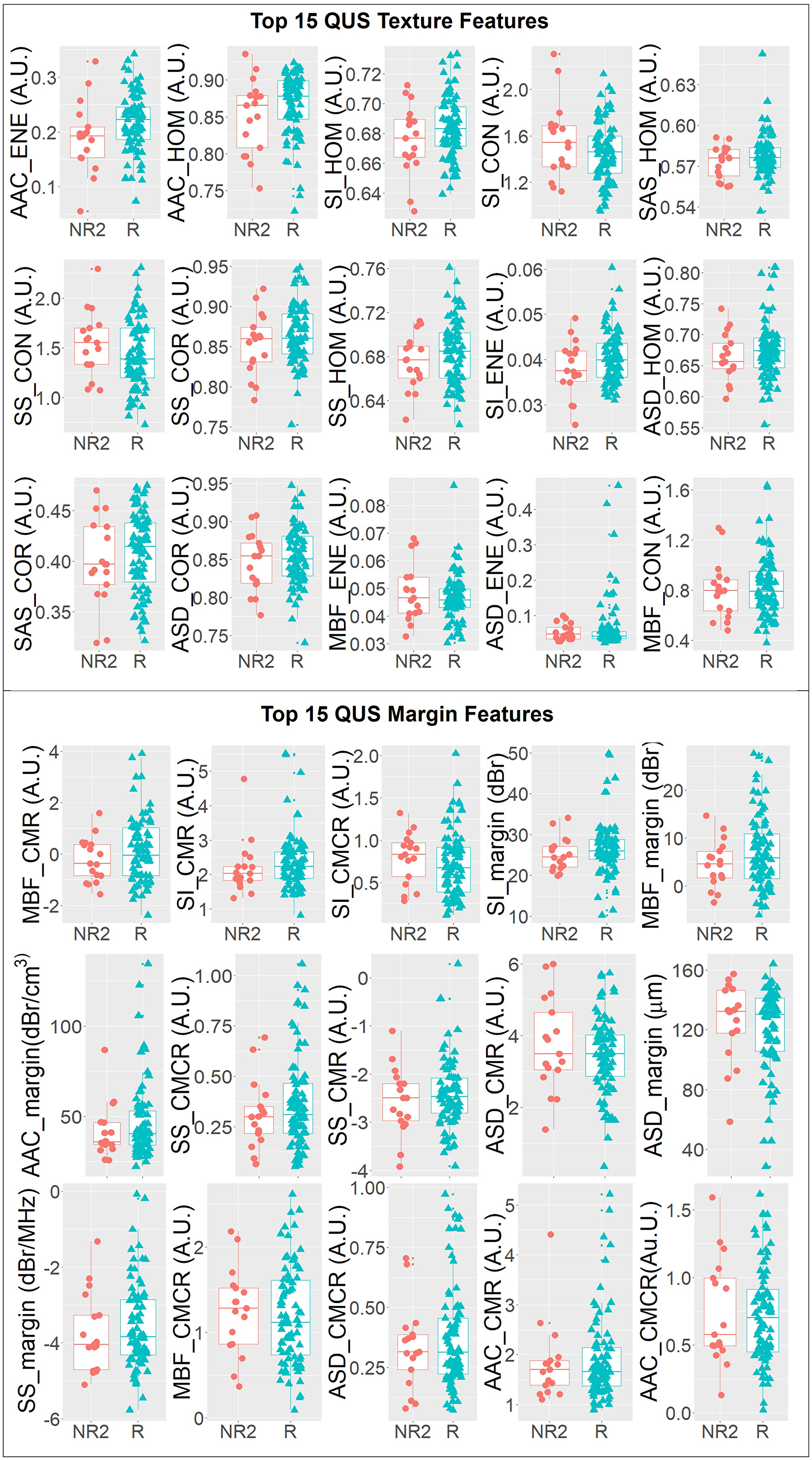 One-dimensional scatter plots and overlaid boxplots of the top 15 QUS texture featuers and top 15 QUS margin features comparing responder (R) and non-responder (NR2) groups.