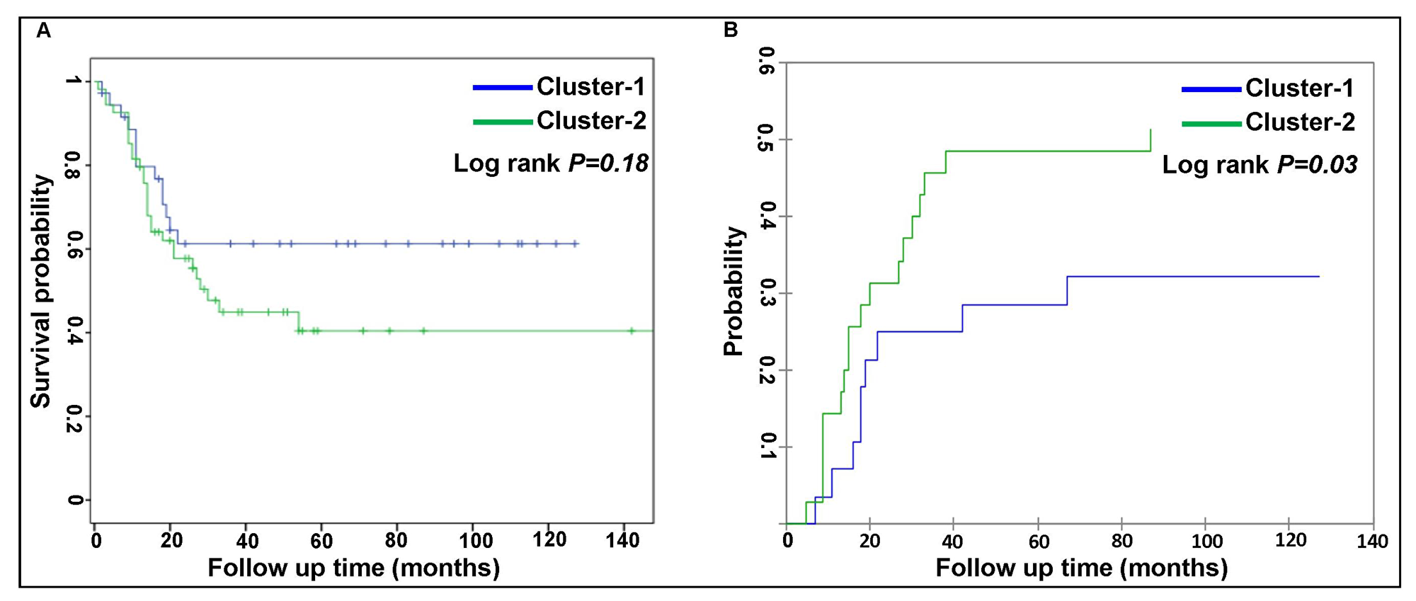 Comparison of patient outcome between two AML clusters.