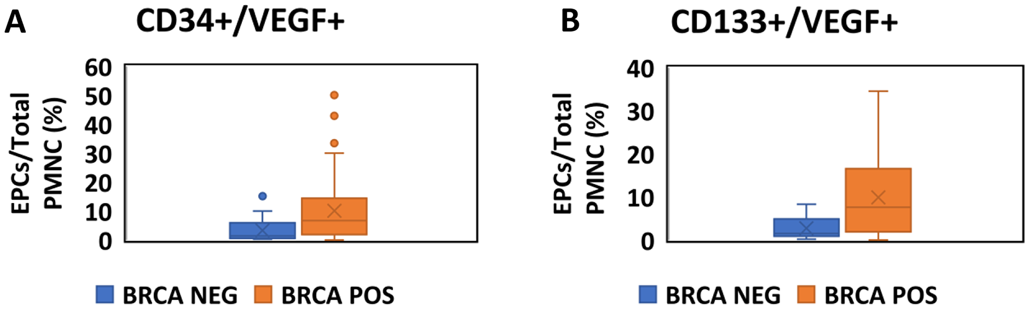 Quantitative assessment of EPCs in BRCA positive carriers and negative carriers.