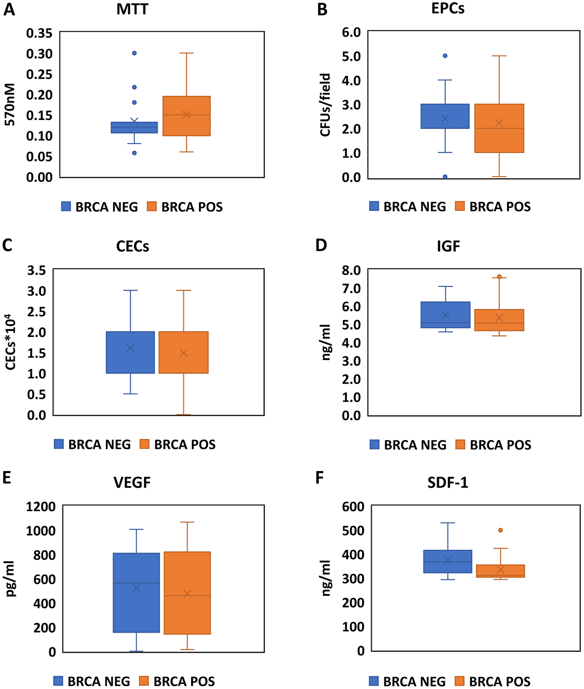 Assessment of EPCs activity, markers of endothelial damage and stimulation for EPCs production in BRCA positive carriers and negative carriers.