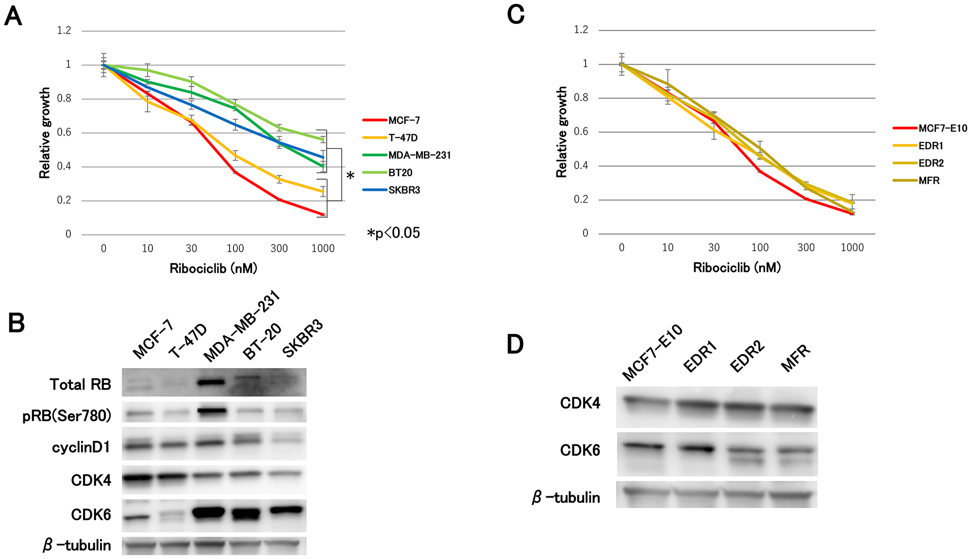 Effect of ribociclib in breast cancer cell lines and hormone-resistant cell lines.
