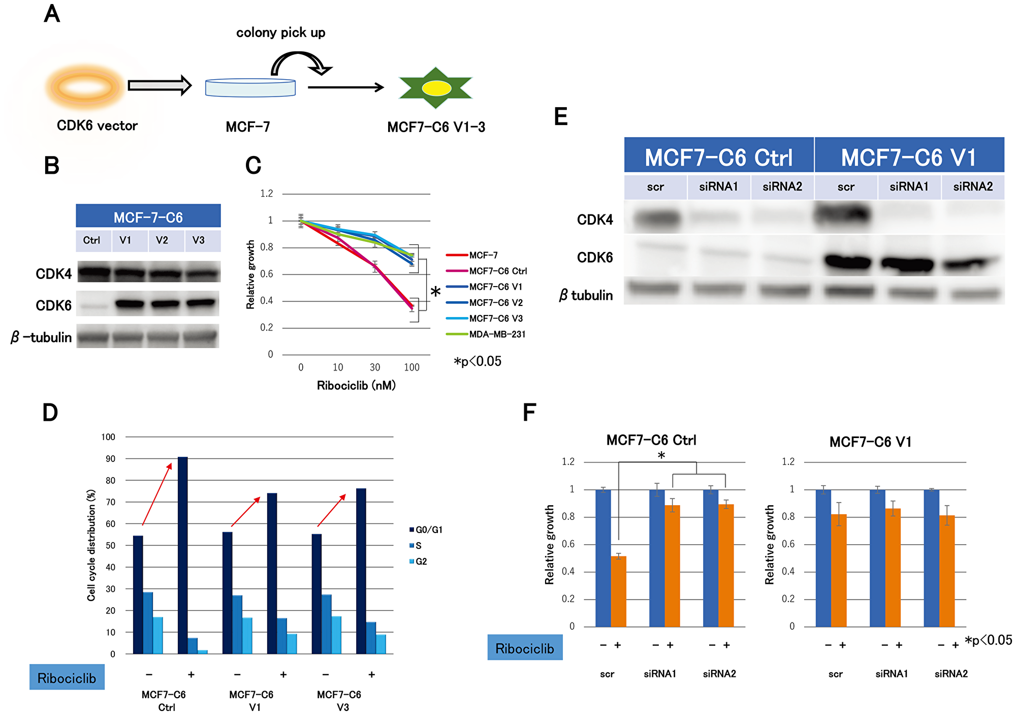 Expression levels of CDK4- and CDK6-producing effect to ribociclib sensitivity.