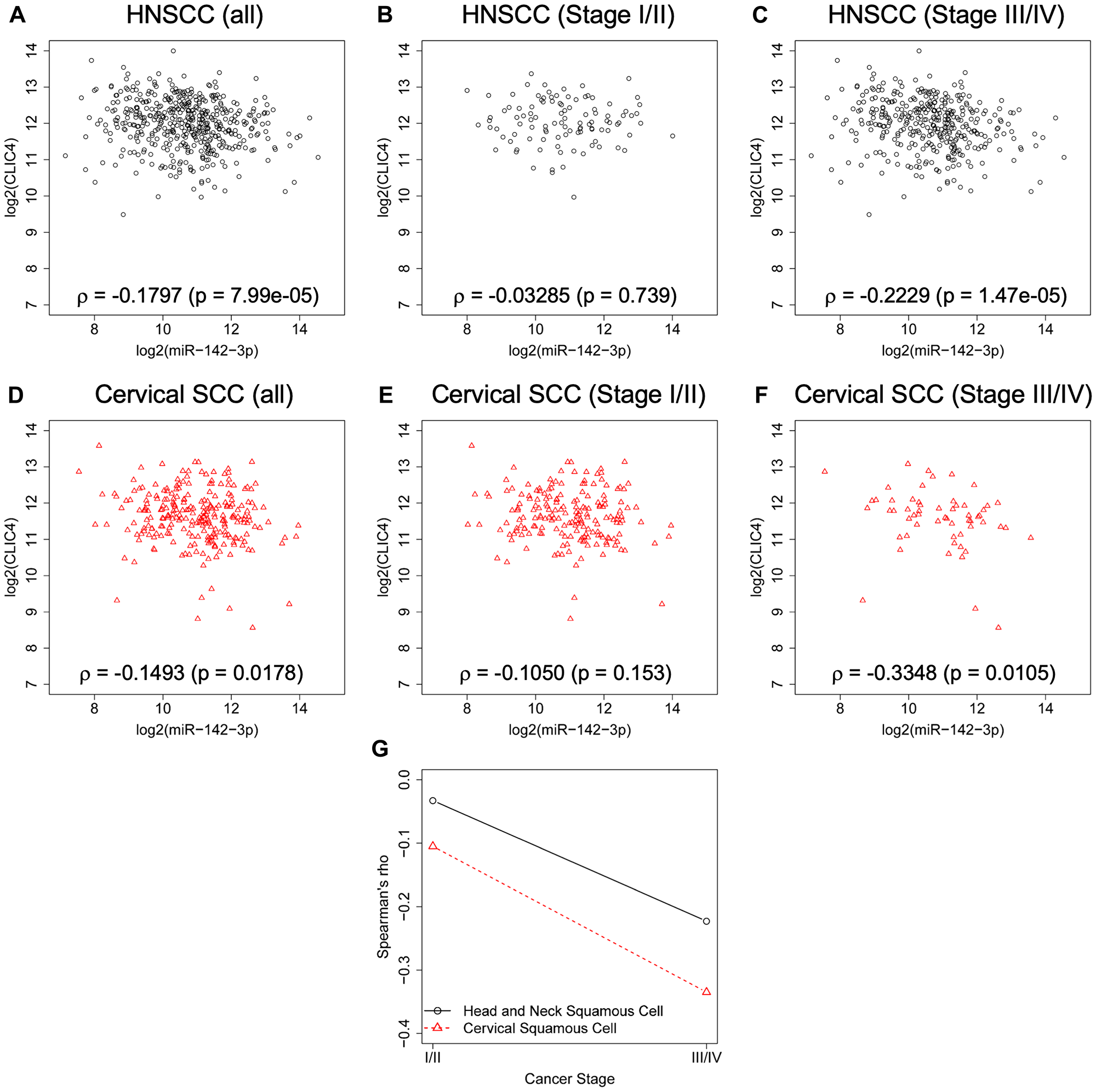CLIC4 and miR-142-3p are inversely related in advanced squamous cell cancers.