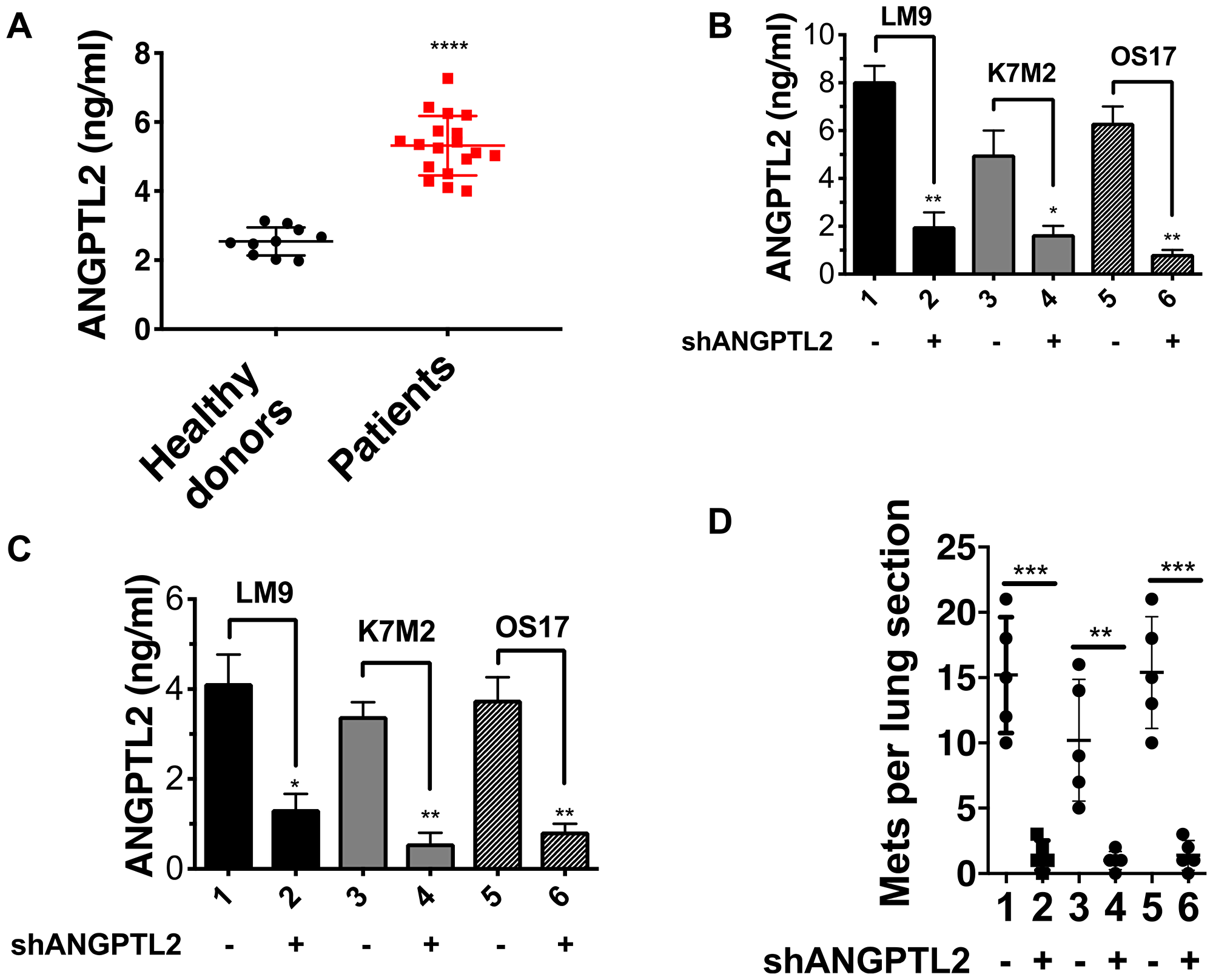 ANGPTL2 plays a crucial role in osteosarcoma metastasis.