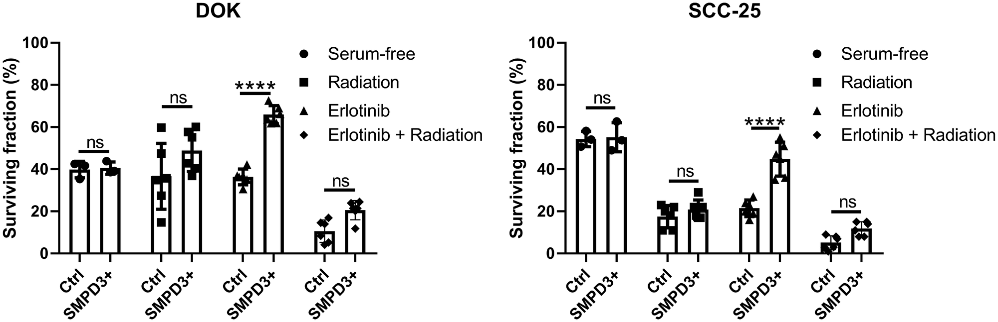 SMPD3 overexpression did not alter the response of oral dysplasia and cancer cell lines to serum starvation or radiation but improved resistance to the EGFR inhibitor erlotinib.