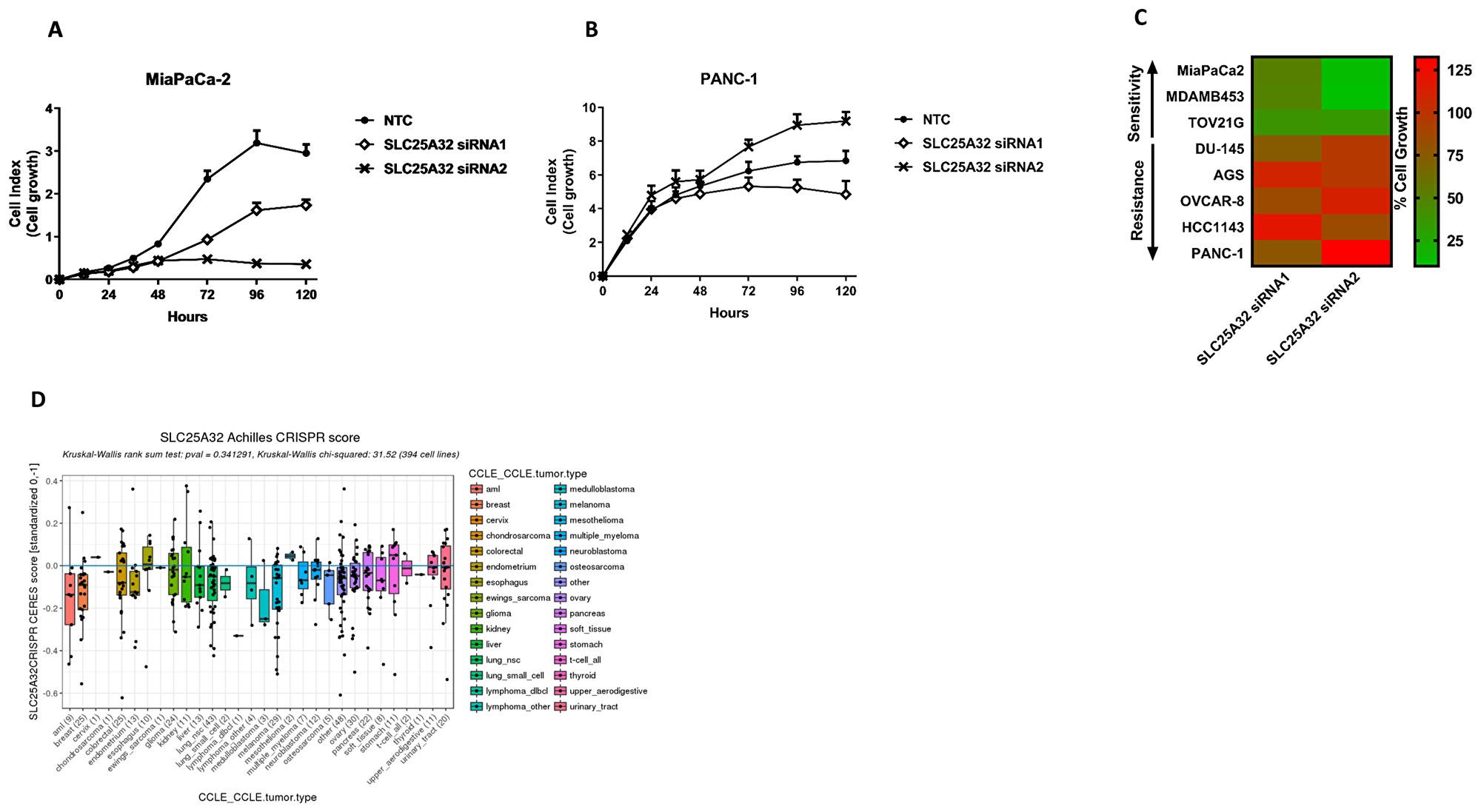 Impairment of SLC25A32 expression inhibits cancer cell proliferation.