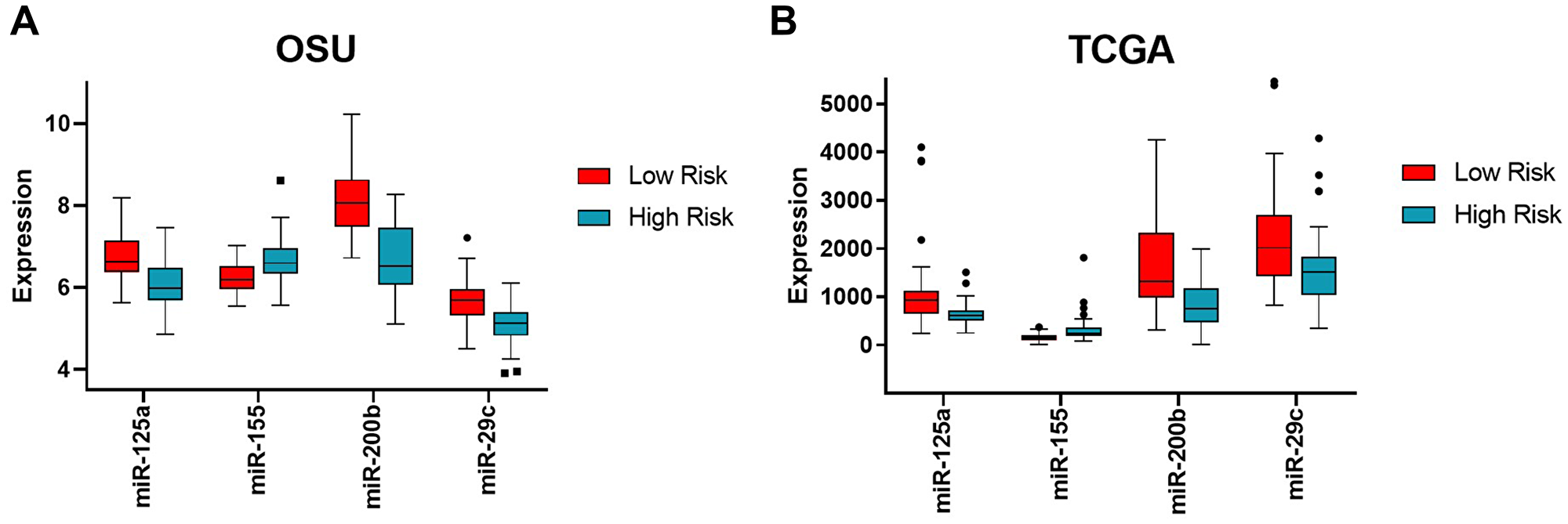 Expression levels of the four miRNAs in high versus low risk groups in the OSU and TCGA cohorts.