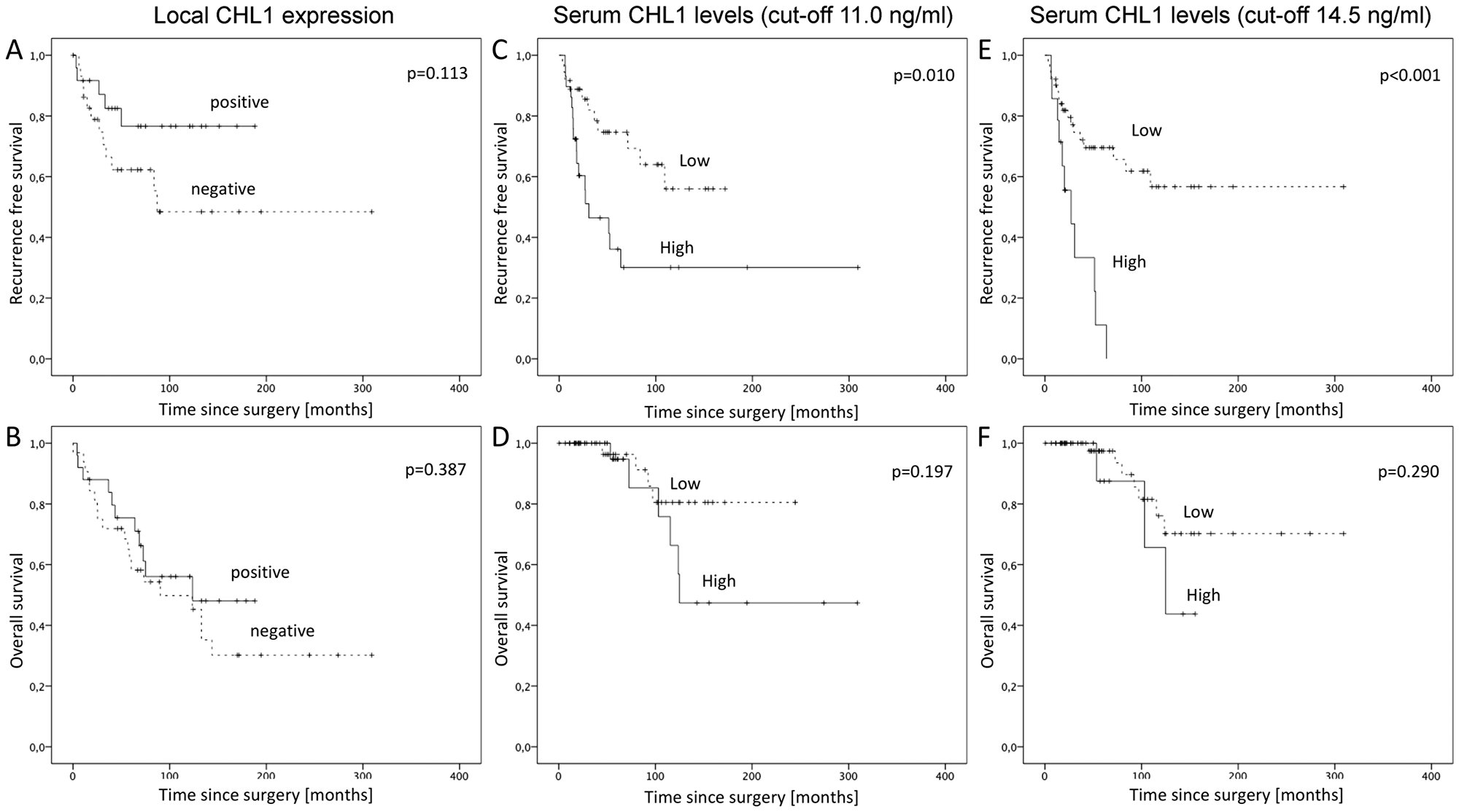 Kaplan-Meier survival analyses for recurrence free and overall survival in GIST.