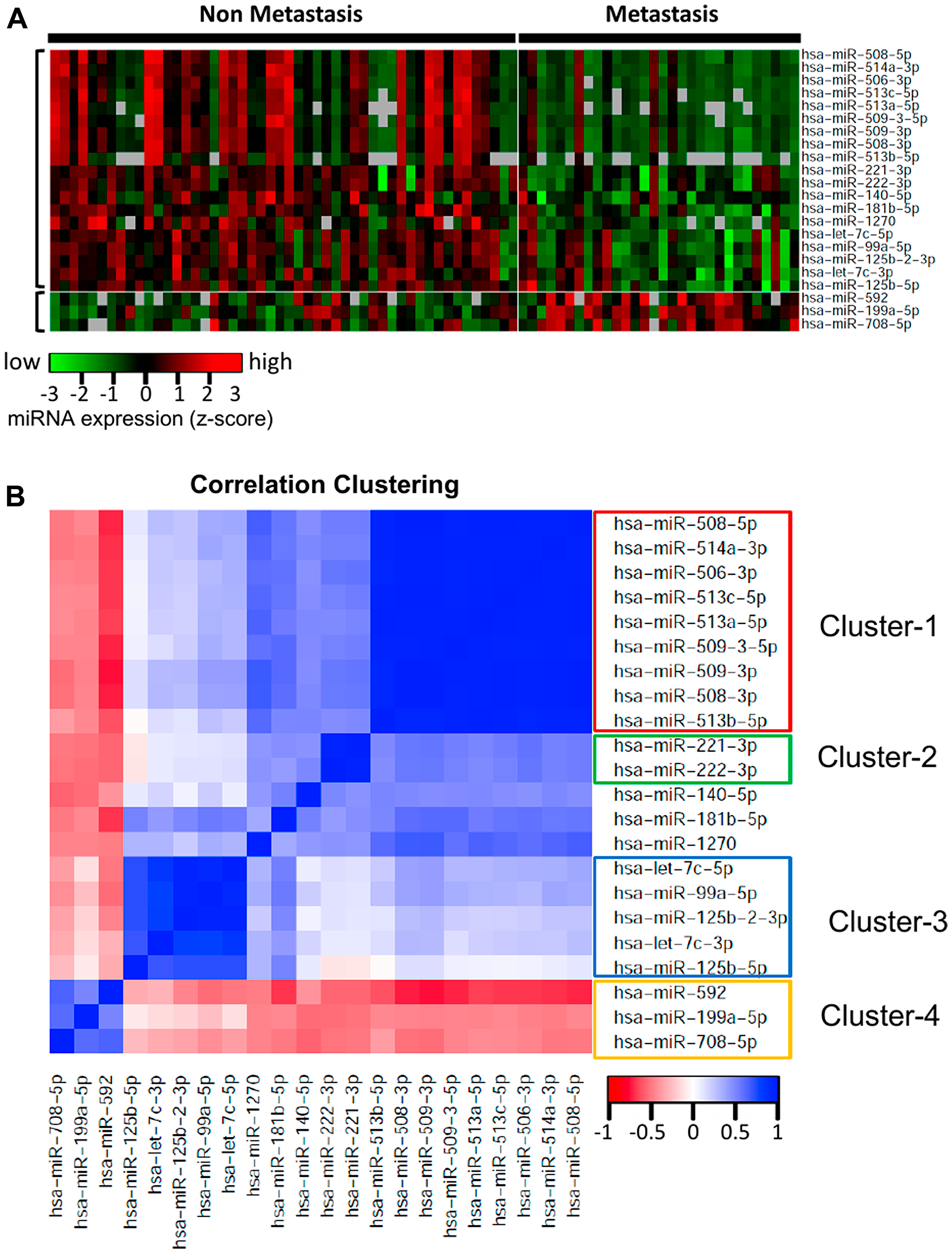 Heatmap and correlation clustering of the miRNAs significantly differentially expressed with respect to ever-development of metastatic UM.