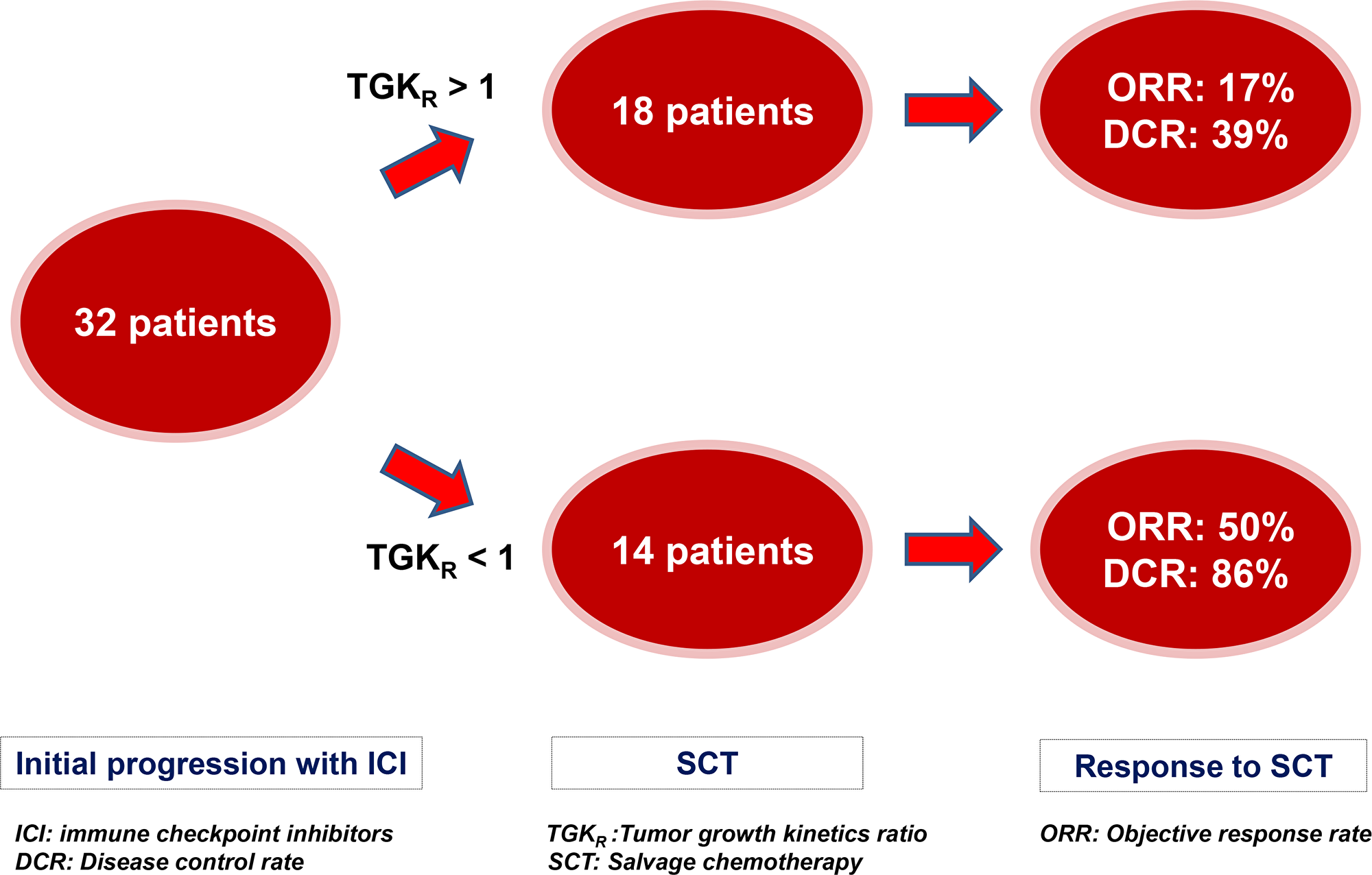 Impact of Tumor Growth Kinetics ratio (TGKR) on outcomes with salvage chemotherapy (SCT) after initial RECIST 1.1 progression with immune checkpoint inhibitors (ICI).