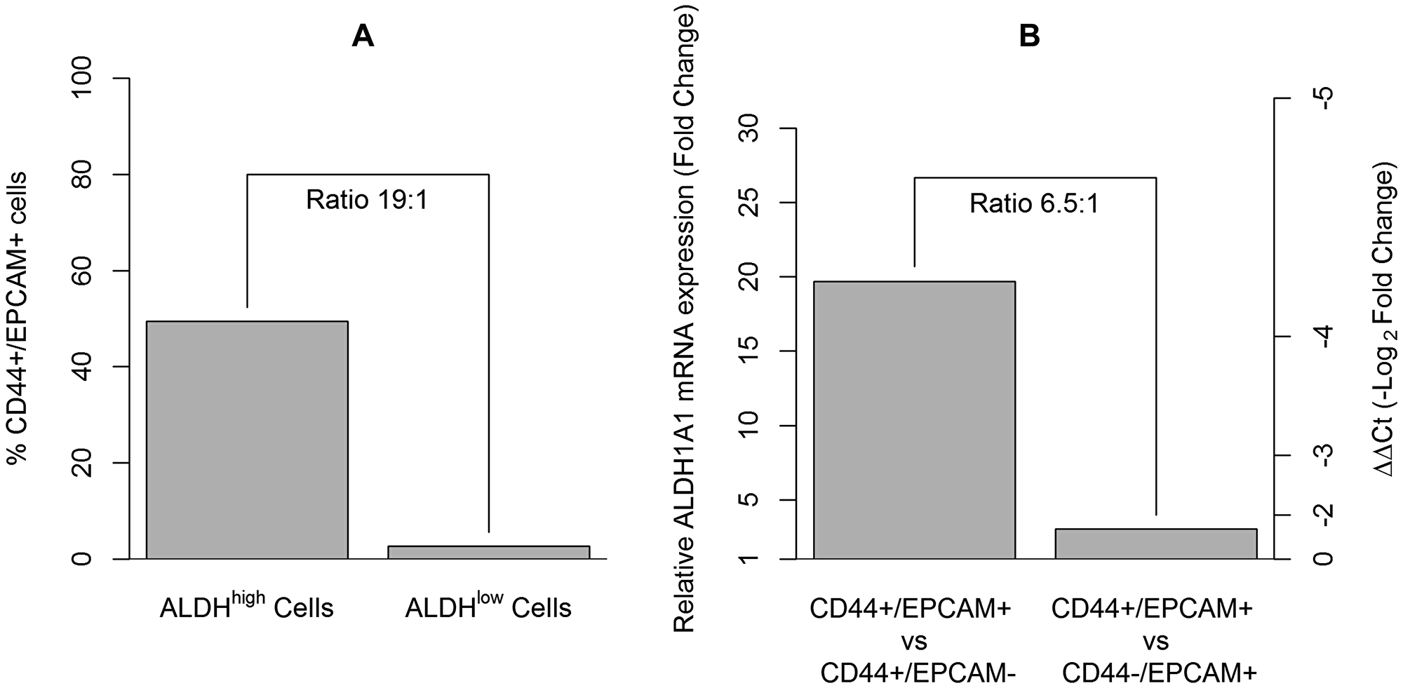 The assessment of CD44+/EPCAM+ cells in ALDHhigh sorted cells and their enrichment for the ALDH1A1 cancer stem cell gene.
