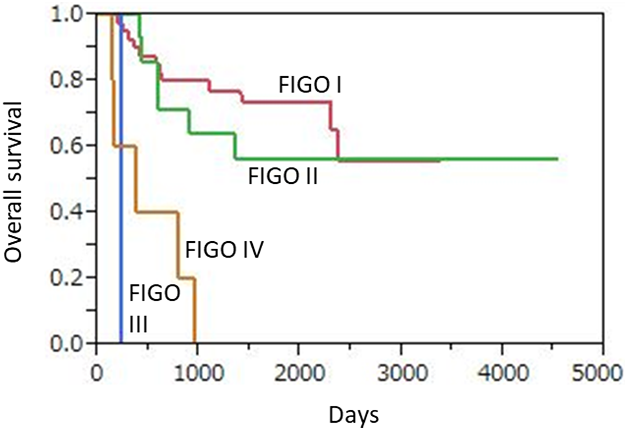 Kaplan-Meier overall survival curves for 62 uterine cervical neuroendocrine carcinoma patients according to FIGO stage.