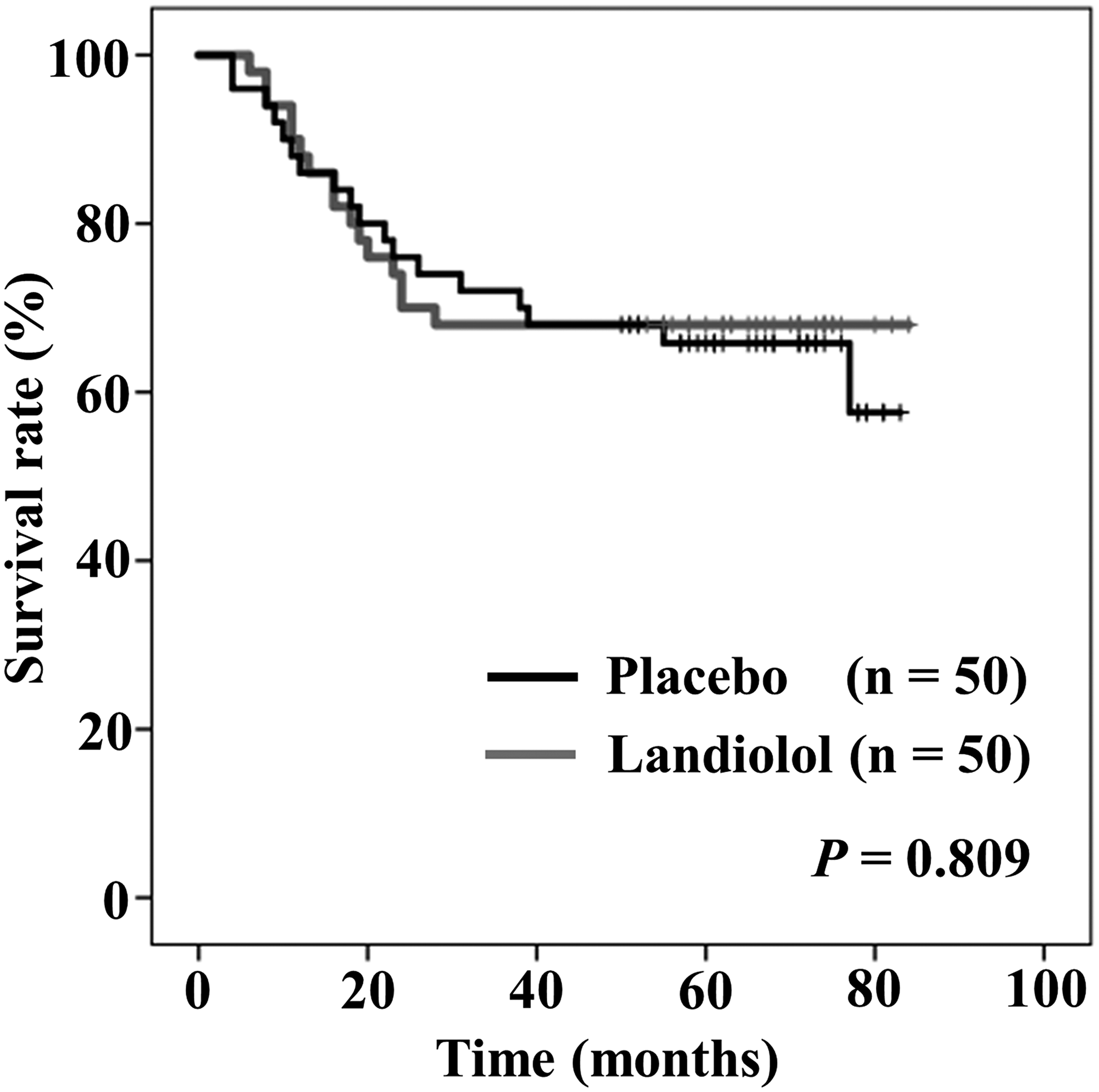 Intention to treat Kaplan–Meier curves of overall survival between placebo (black) and landiolol (gray) groups.