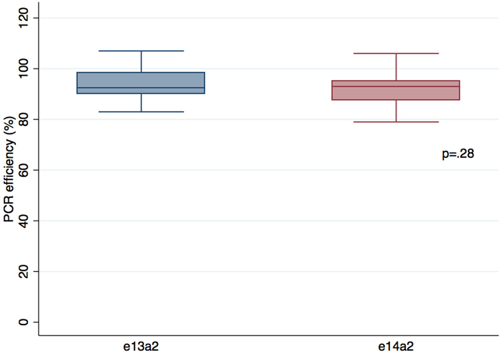 Comparison of PCR efficiencies between e13a2 and e14a2 transcripts.