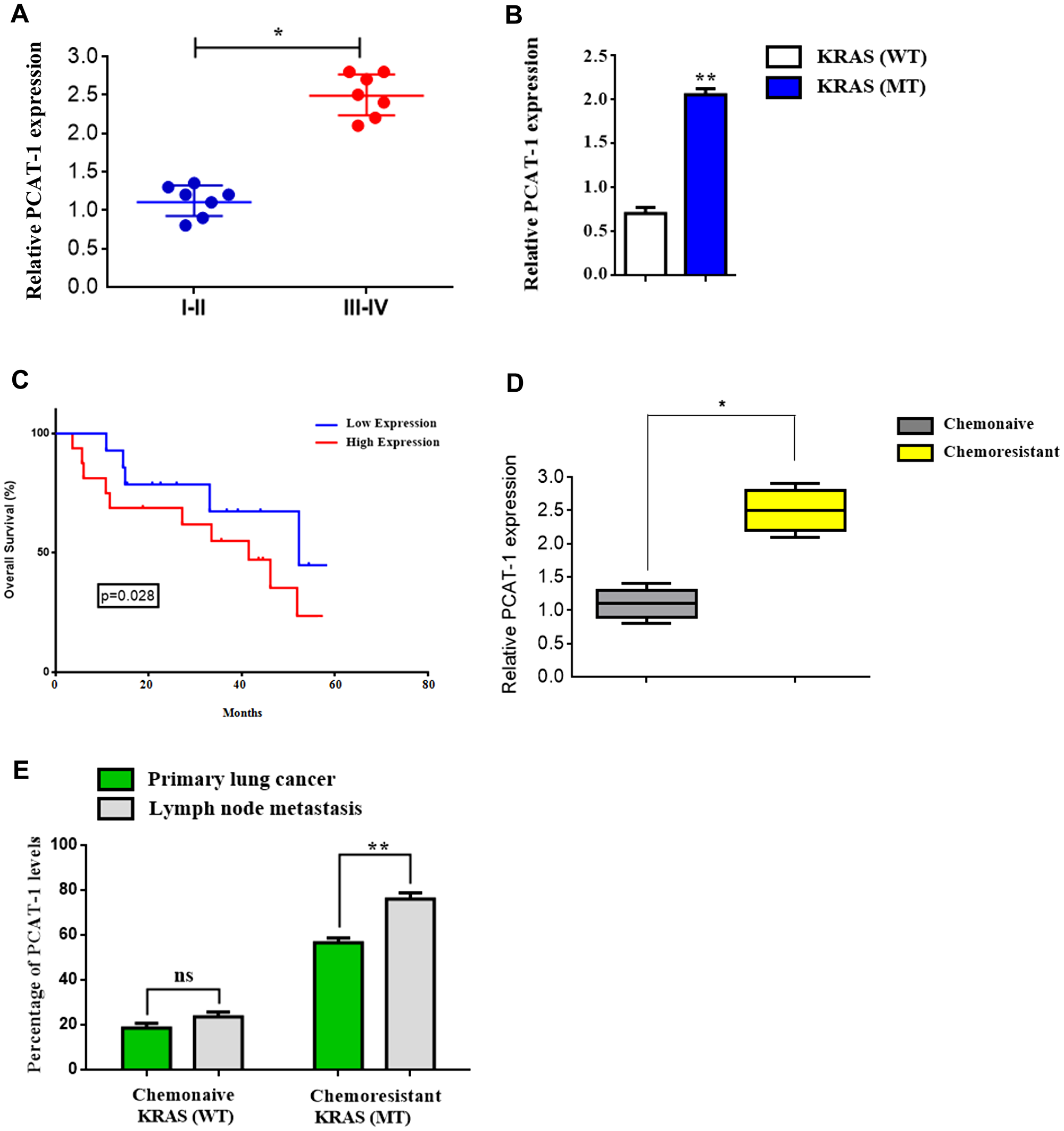 Mutant Kras-related chemoresistance is associated with increased expression of lncRNA PCAT-1 in metastatic lung cancer.
