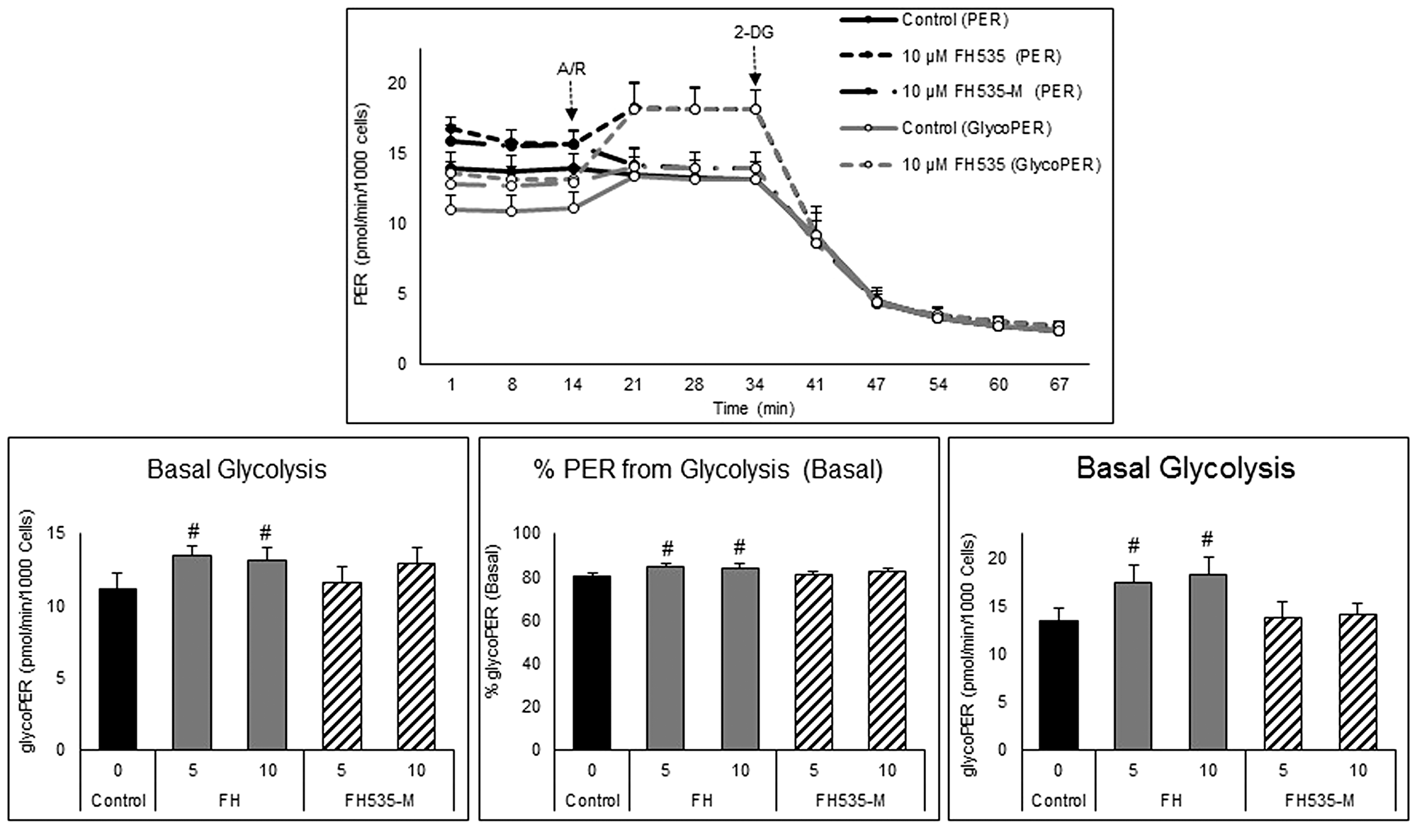 Effect of FH535 and FH535-M on the glycolytic rate of Huh7 cells.