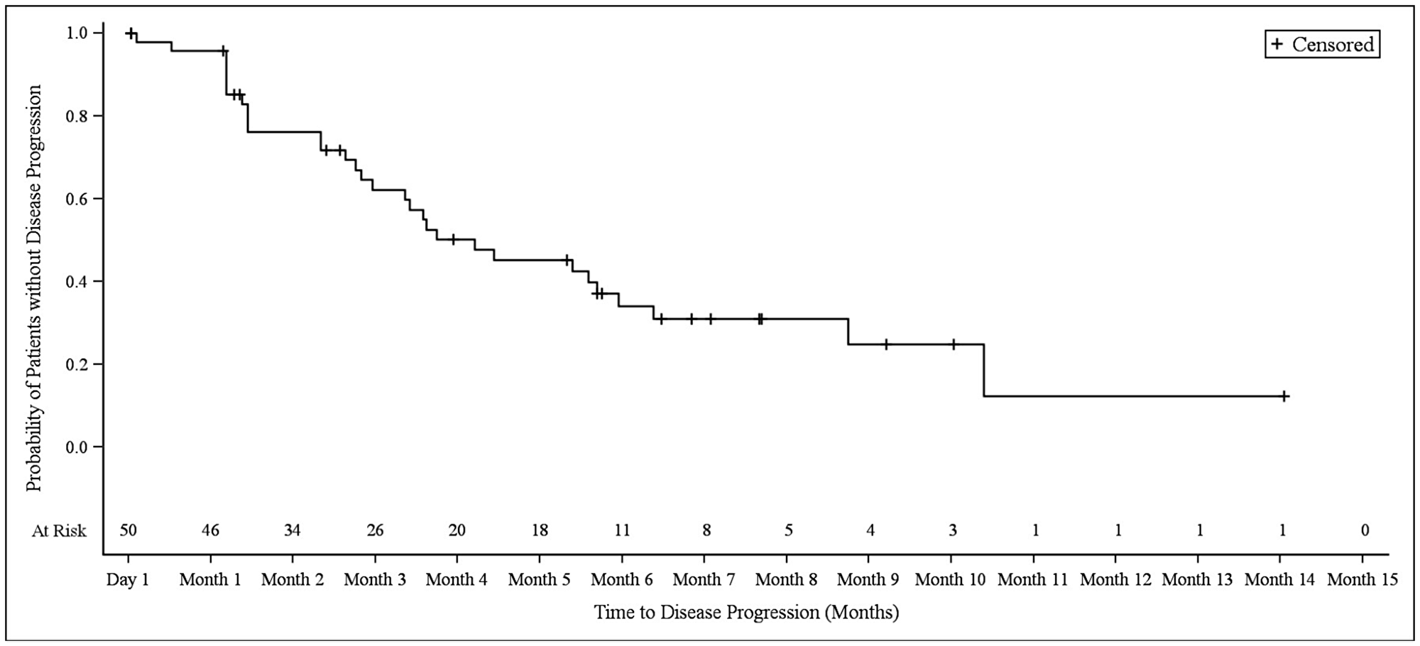 Kaplan–Meier plot of progression-free survival in biliary tract cancer patients.
