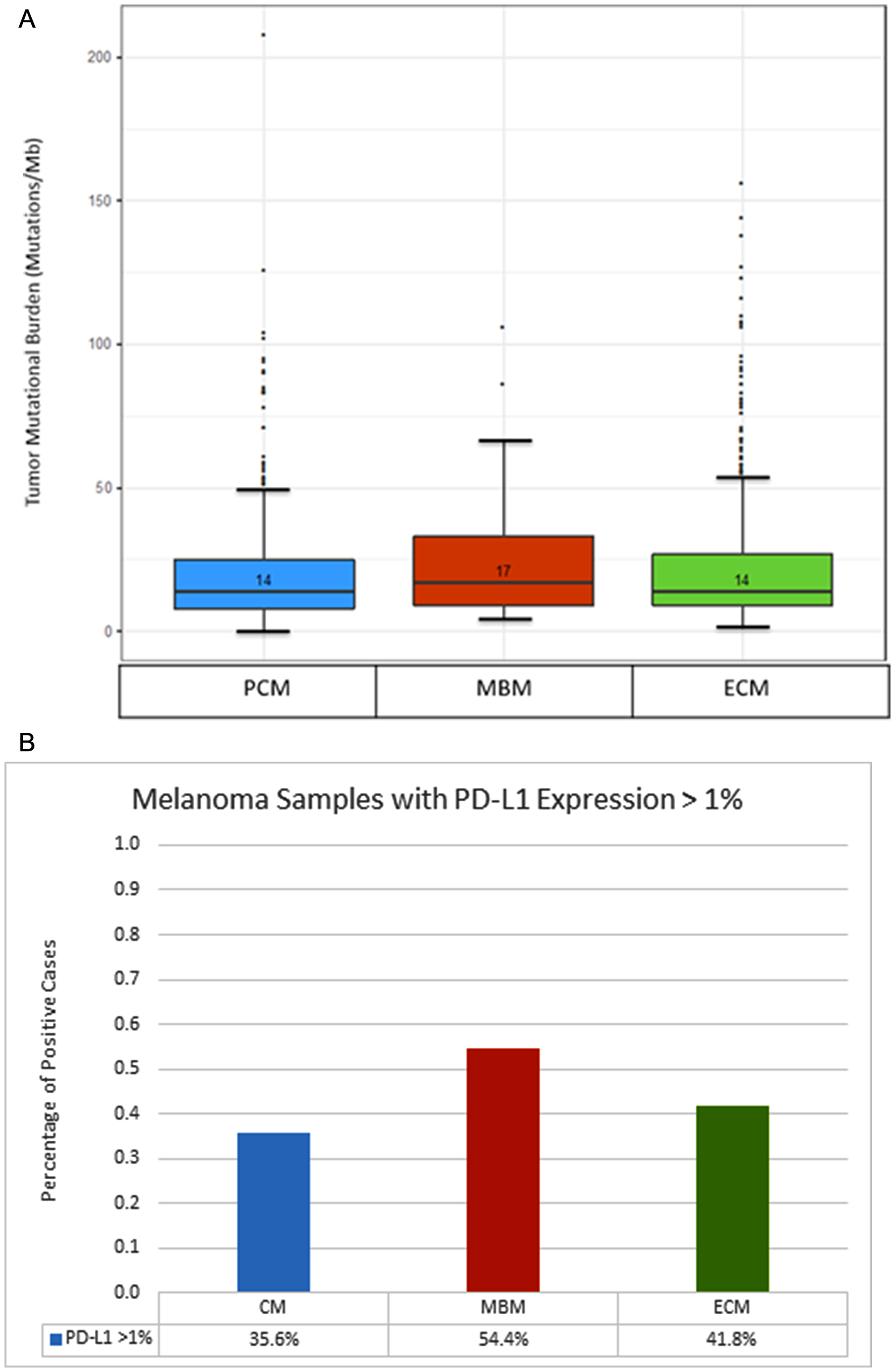 Comparison of tumor mutational burden and PD-L1 expression between primary cutaneous melanoma (PCM), melanoma brain metastases (MBM) and extracranial metastases (ECM).