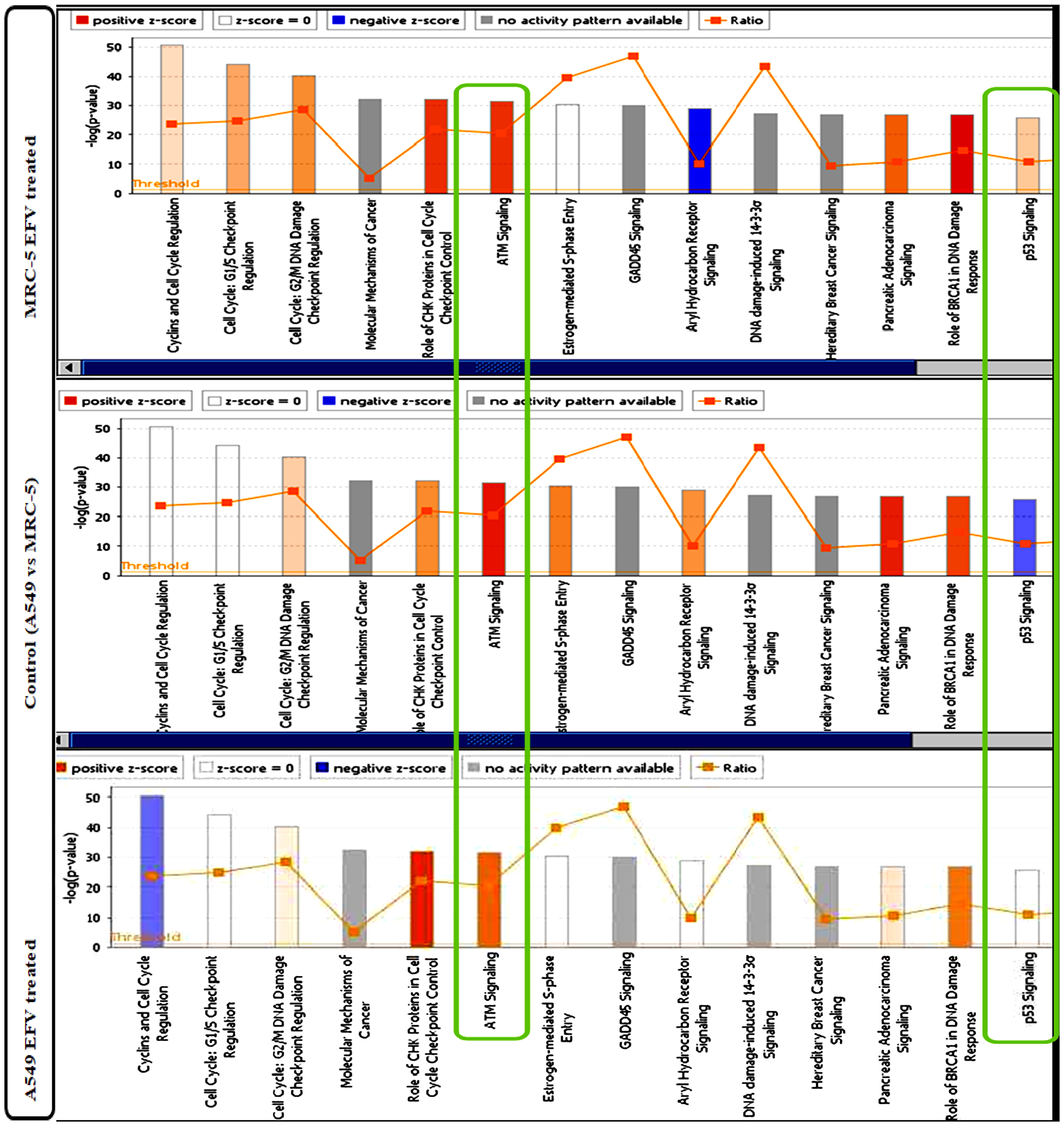 IPA Canonical Pathway analysis of differentially expressed genes in EFV treated vs control cells.