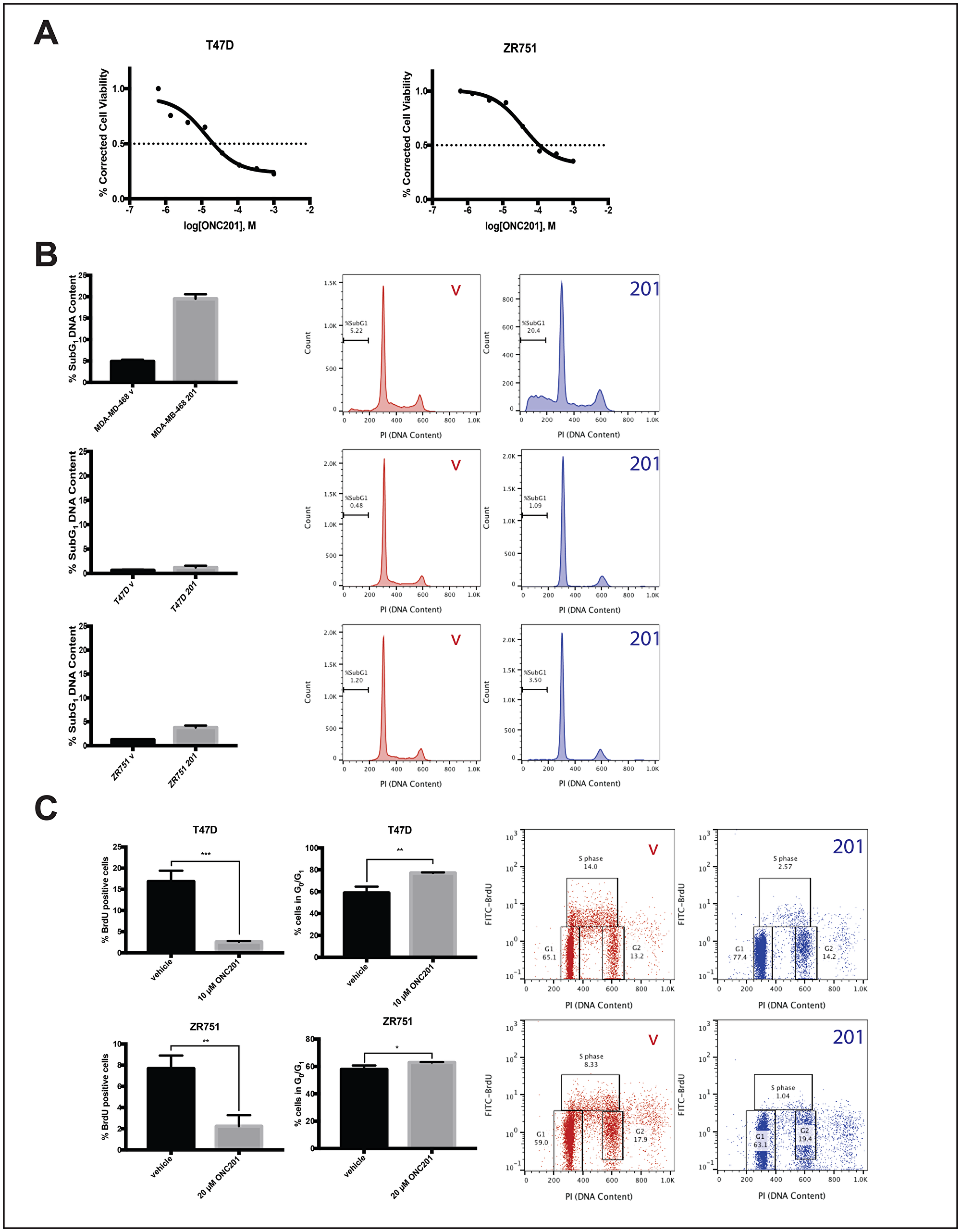 ONC201 inhibits the proliferation but does not induce apoptosis in T47D and ZR751 TRAIL-resistant non-TNBC cells.