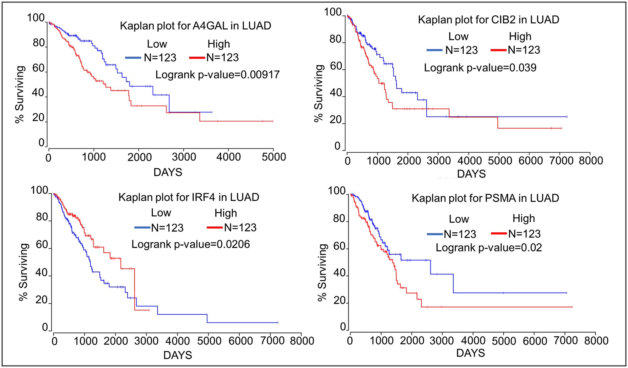Kaplan–Meier plots showing the relationship of oncogene expression to lung cancer patient survival using data from TCGA.