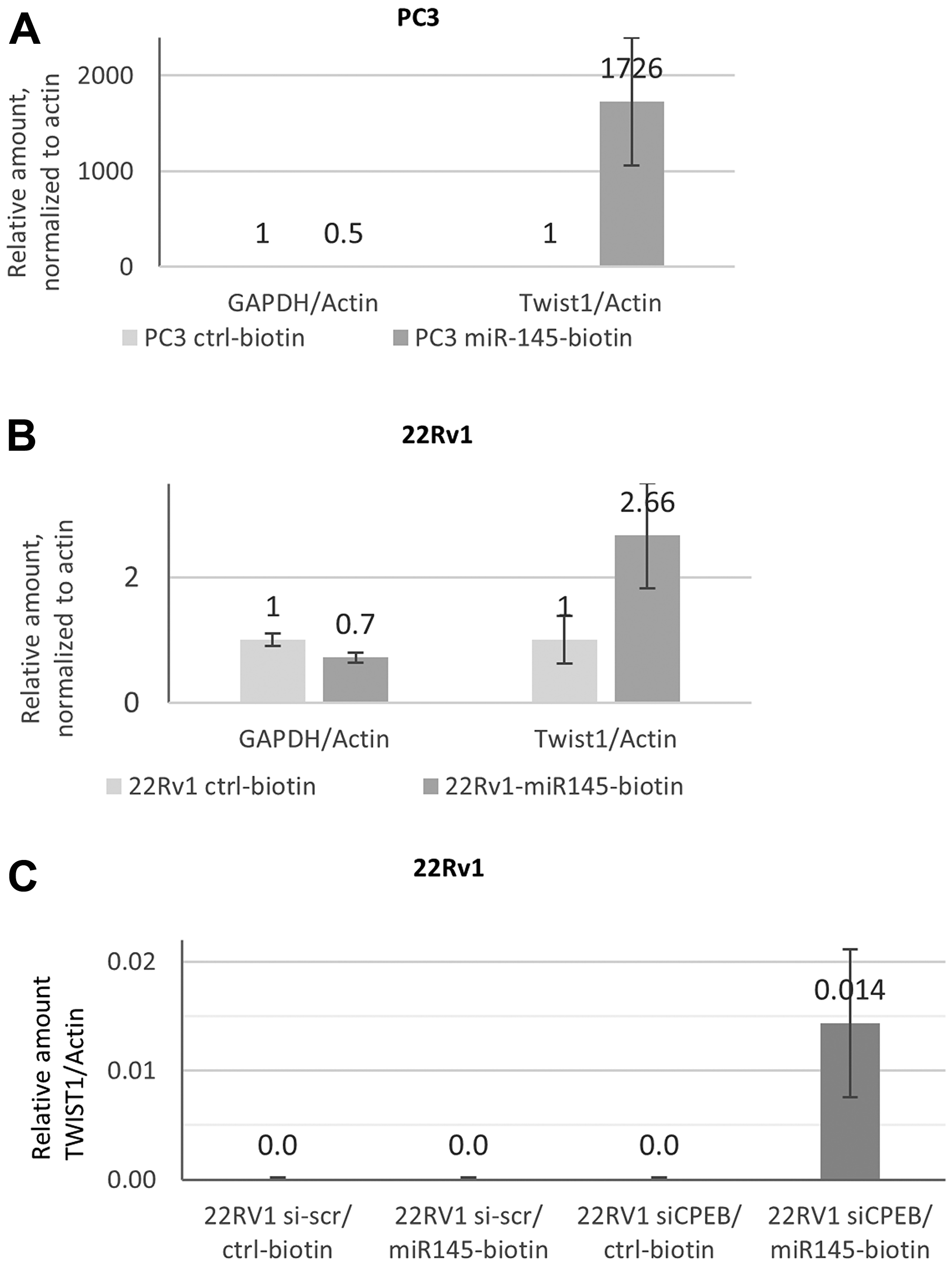 Mir-145-5p interaction with TWIST1 mRNA depends on CPEB1 in prostate cancer cell lines.