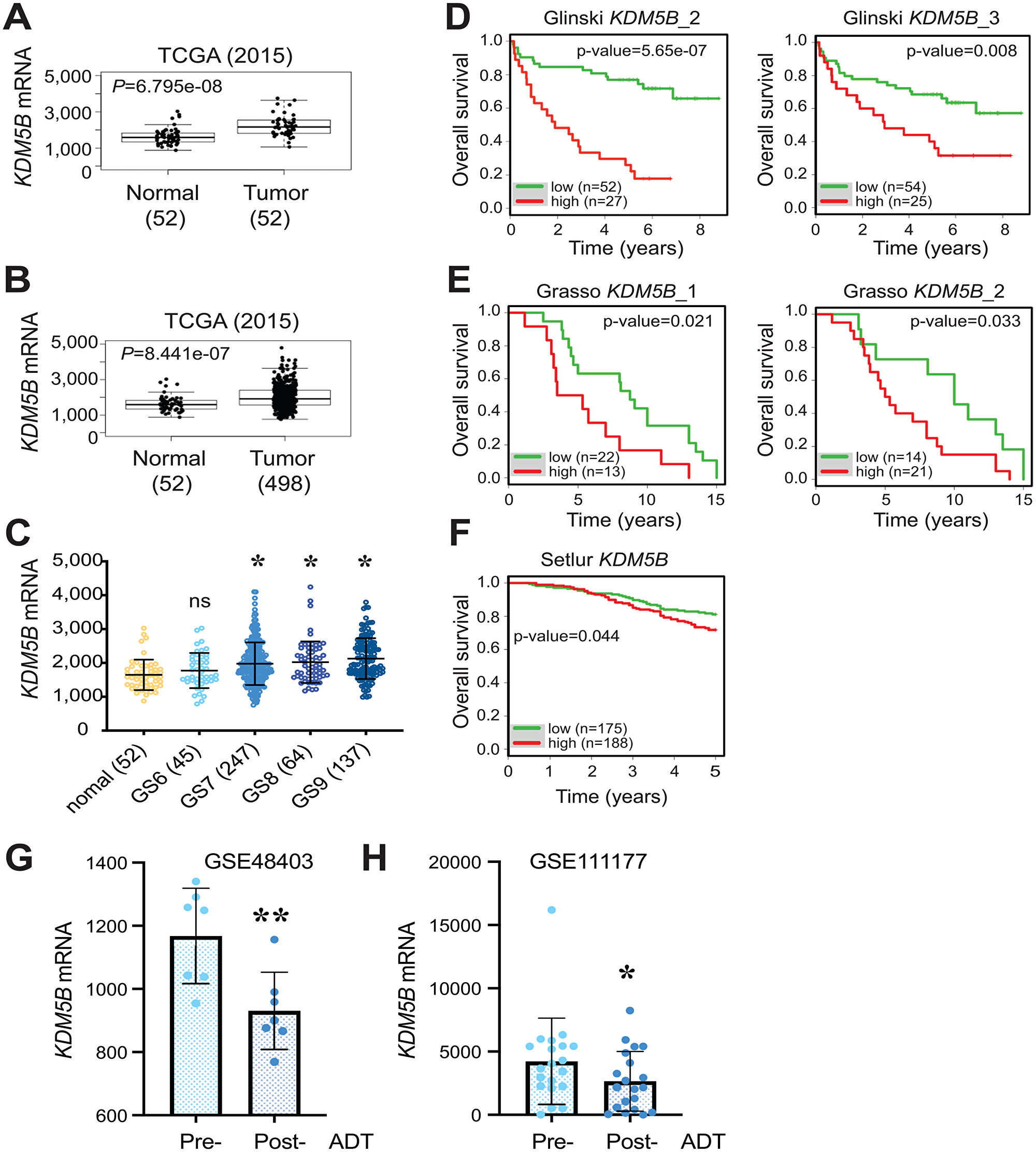 Overexpression of KDM5B mRNA in PCa and correlation with poor patient survival.