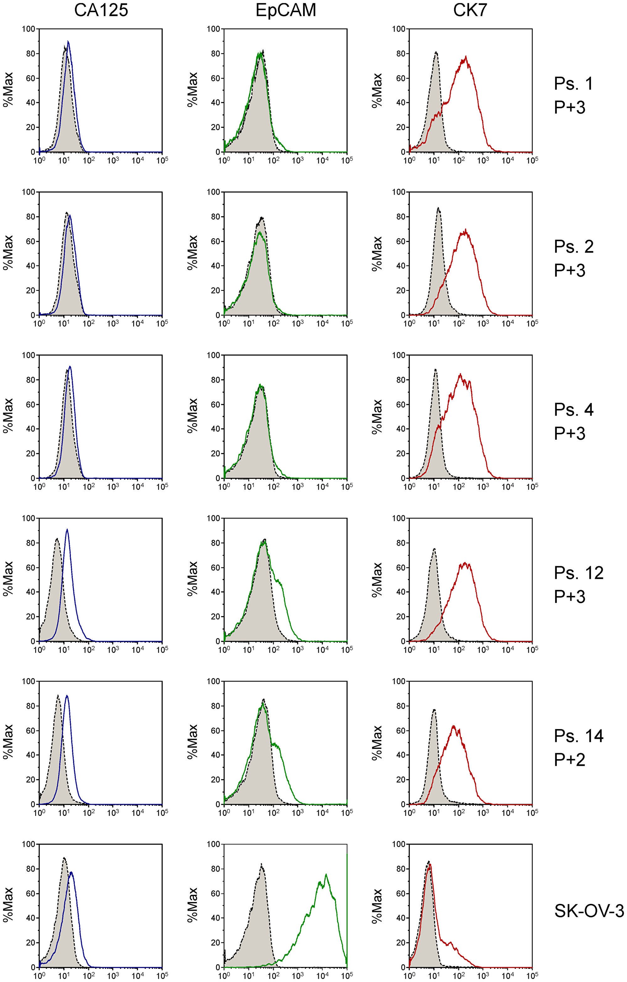 Analysis of tumor cell markers CA125, EpCAM and CK7 on primary patient-derived cell cultures by flow cytometry using fluorescently labeled antibodies.