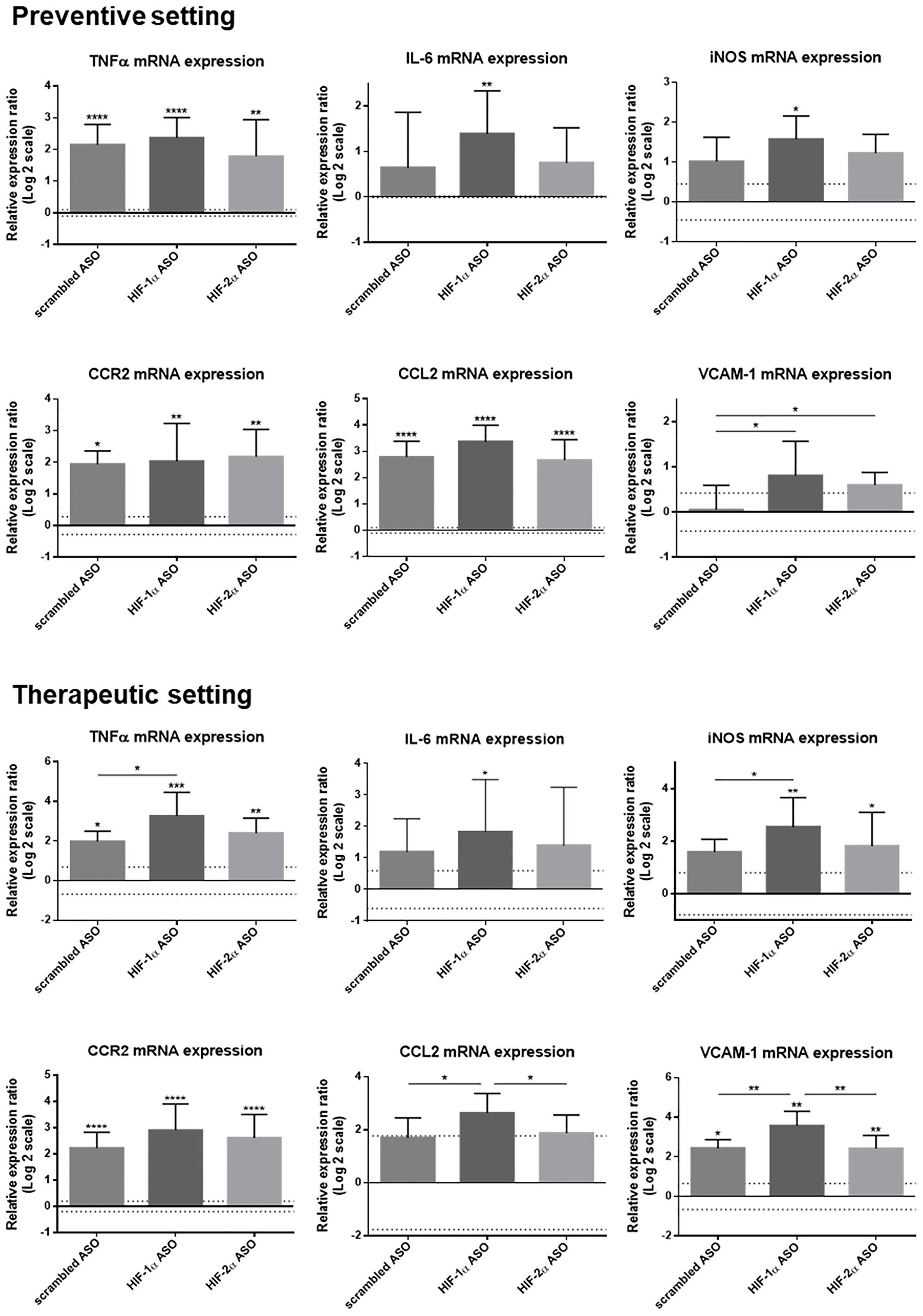 Effect of preventive and therapeutic HIF-1α and HIF-2α ASO treatment on hepatic mRNA expression of inflammatory markers in DEN-induced HCC mice.