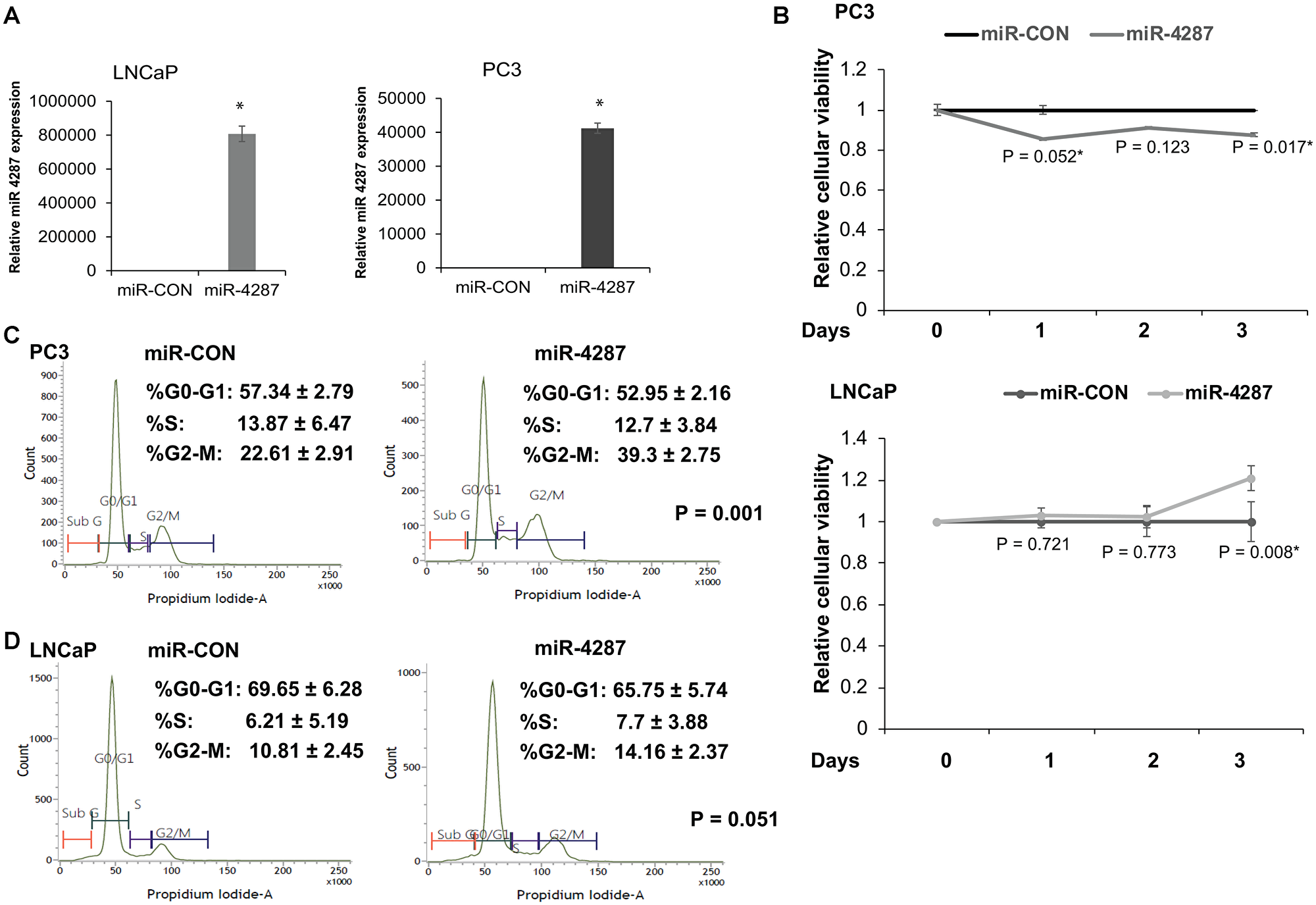 miR-4287 overexpression causes increase in G2/M phase in prostate cancer cell lines.
