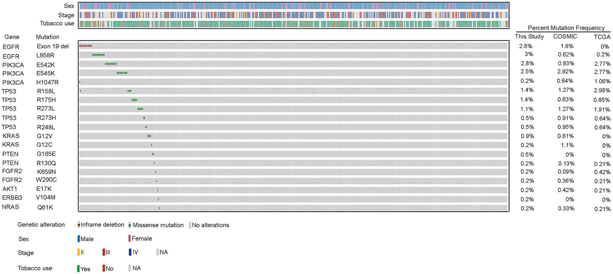 Recurrent genetic alterations in Indian lung squamous carcinoma patients.
