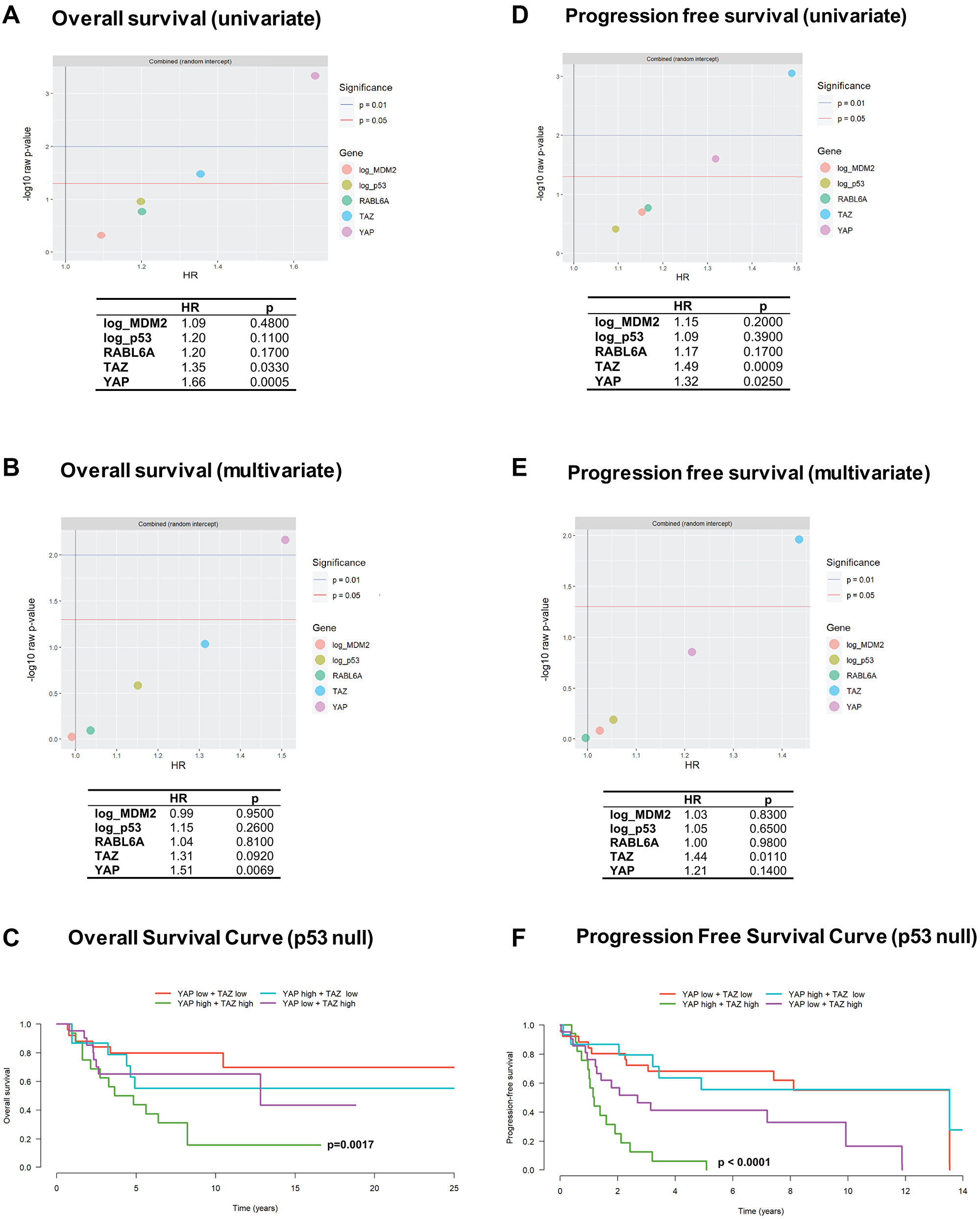 YAP and TAZ are associated with overall and progression free survival across histological types of sarcoma.