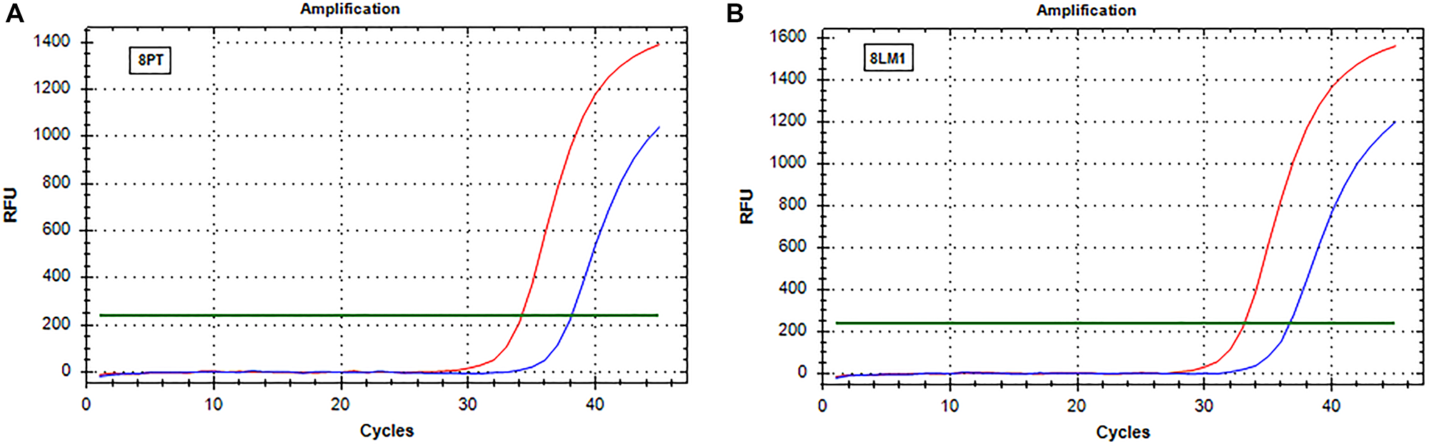 Real-time PCR (SensiScreen™) amplification curves of patient 8 (group 2).