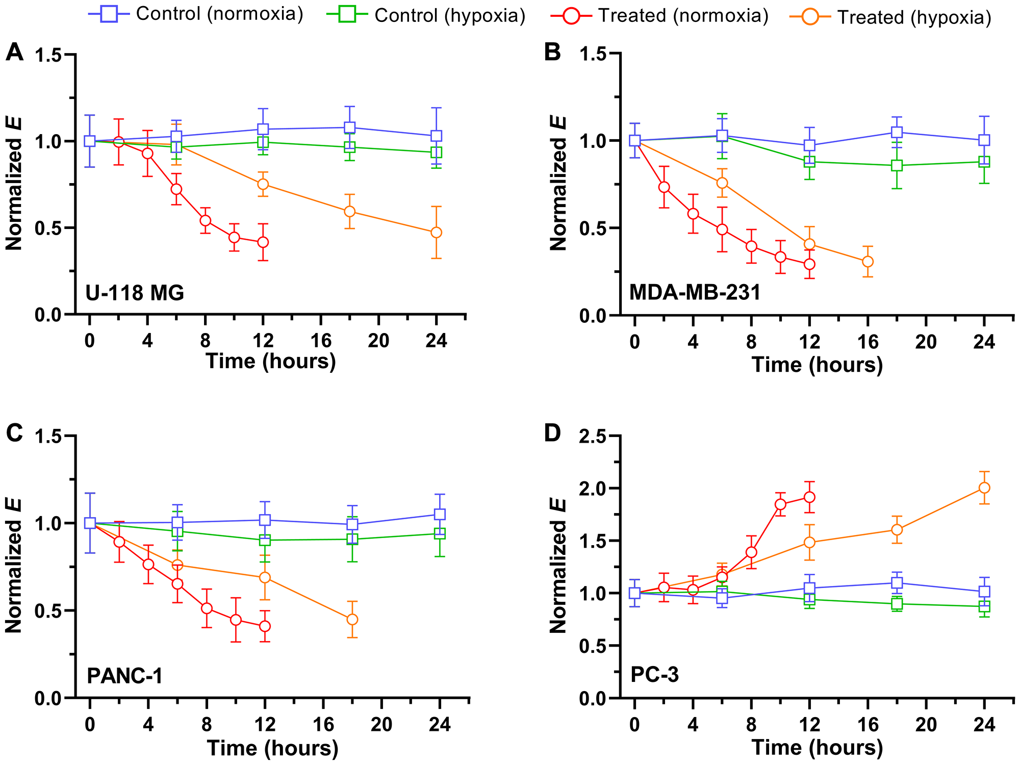 Time trace of normalized Young's modulus E after exposure to 5 μM drugs in normoxia and hypoxia.