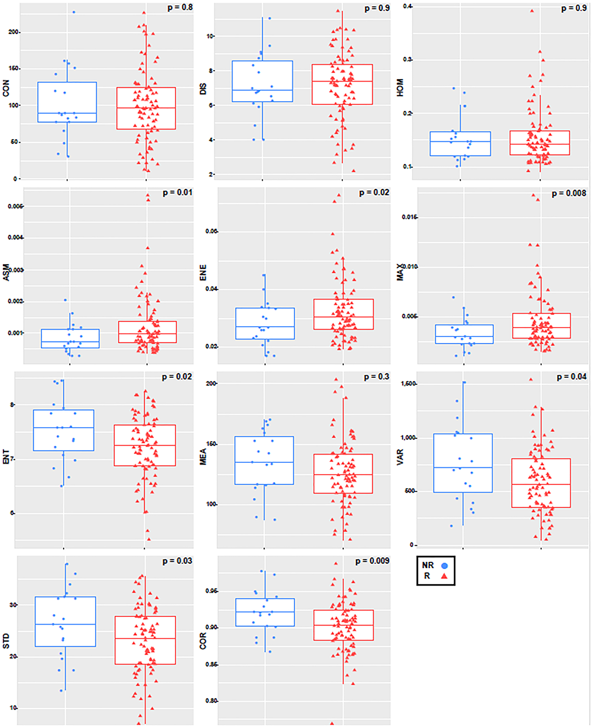 Boxplot with an overlayed scatterplot of the distributions of NR and R patient texture feature values calculated with only the tumor core, a quantization of 256 grey levels, and a pixel distance of 1.