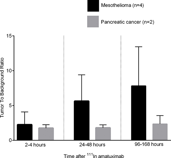 Tumor to background ratios (mean and standard deviation) at 2–4 hours, 24–48 hours and at 96–168 hours after 111In amatuximab for patients with mesothelioma and pancreatic adenocarcinoma.