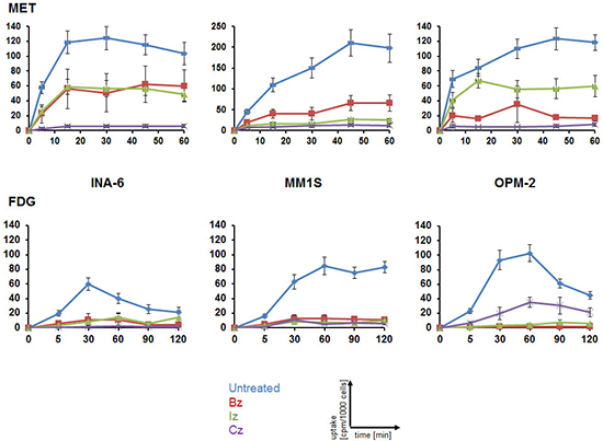Monitoring response to proteasome inhibitors in MM cell lines using MET or FDG.