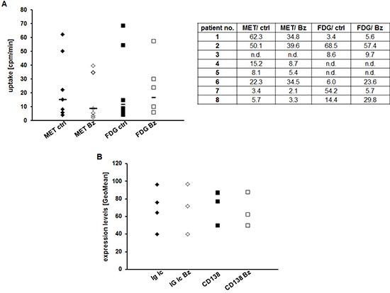 Assessing early response to Bz in CD138+-plasma cells using MET or FDG.